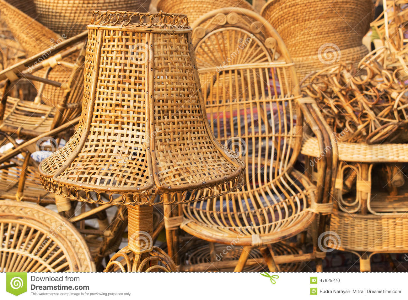 Bamboo Chair Cane Furnitures Indian Handicrafts Fair Editorial Image