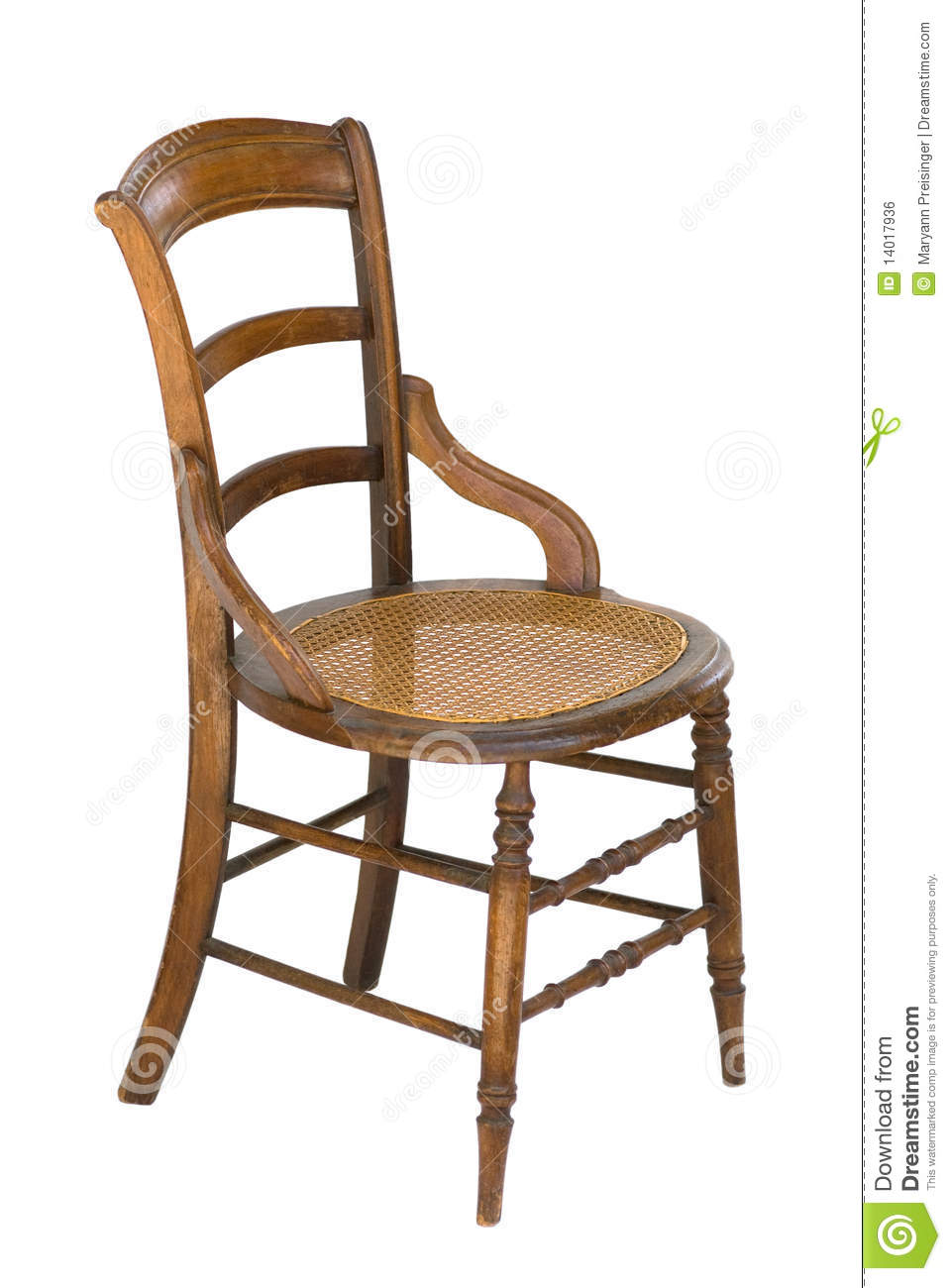 Exceptionnel Cane Seat Antique Wood Vintage Chair   Isolated