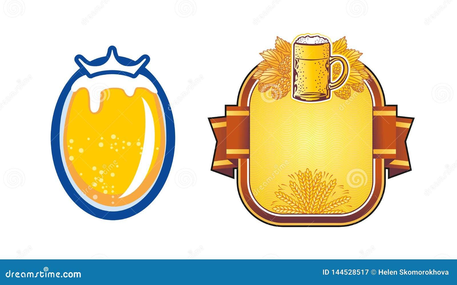 Caneca de cerveja do protetor com ramos do lúpulo Vetor