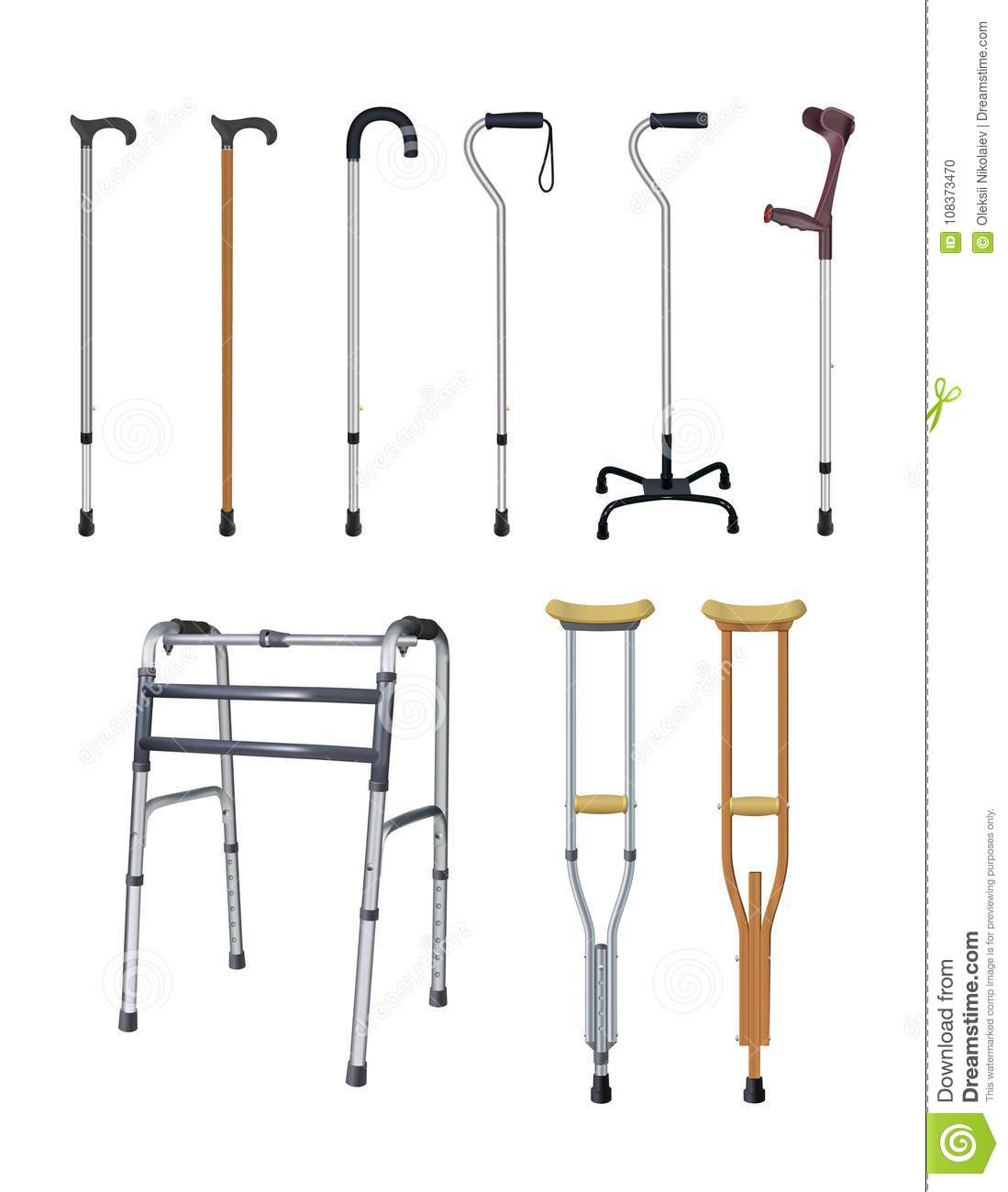 Canes, Crutches And Walkers  Set Of Special Auxiliary Means