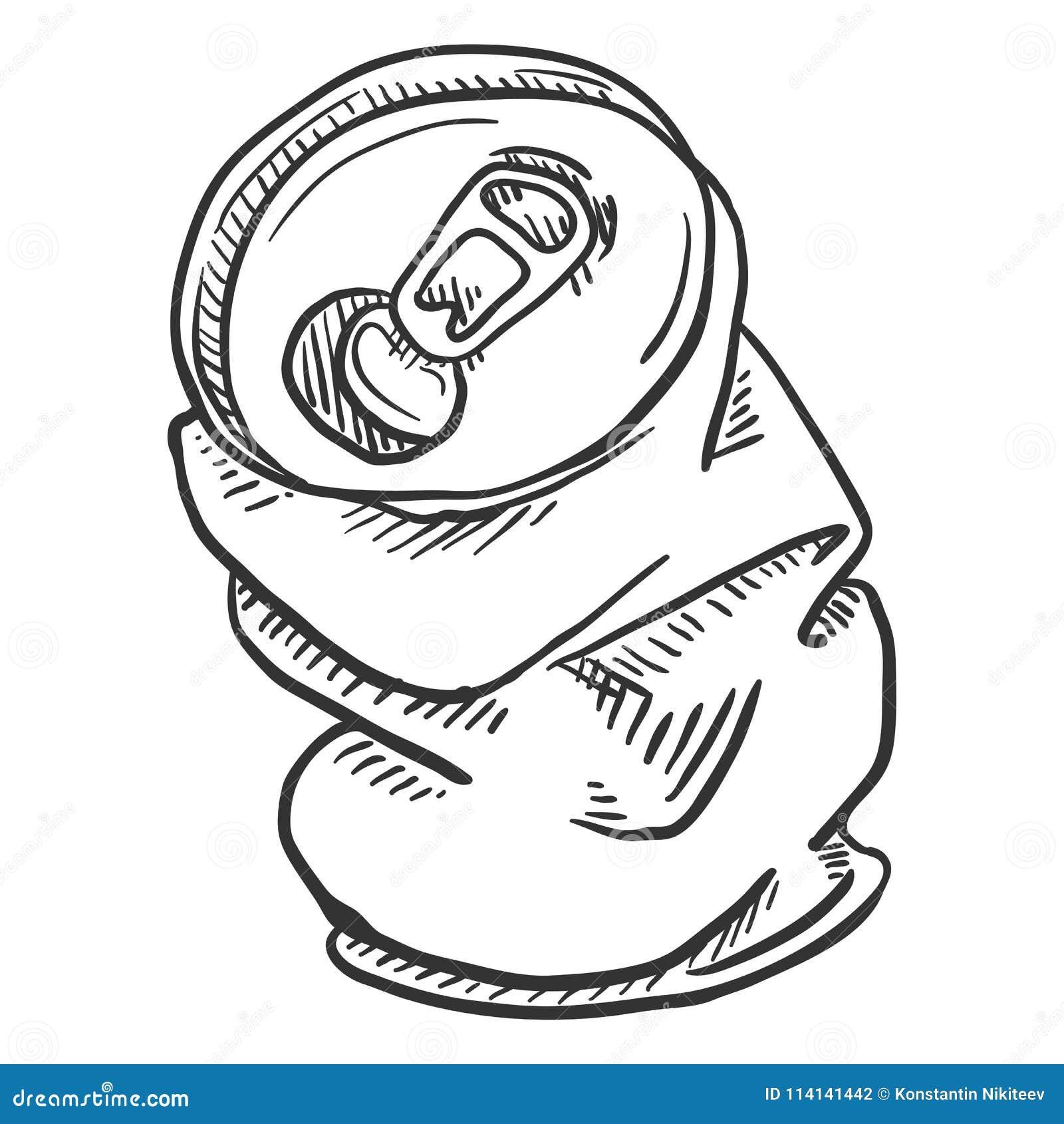 Canette de bière chiffonnée par croquis simple de vecteur