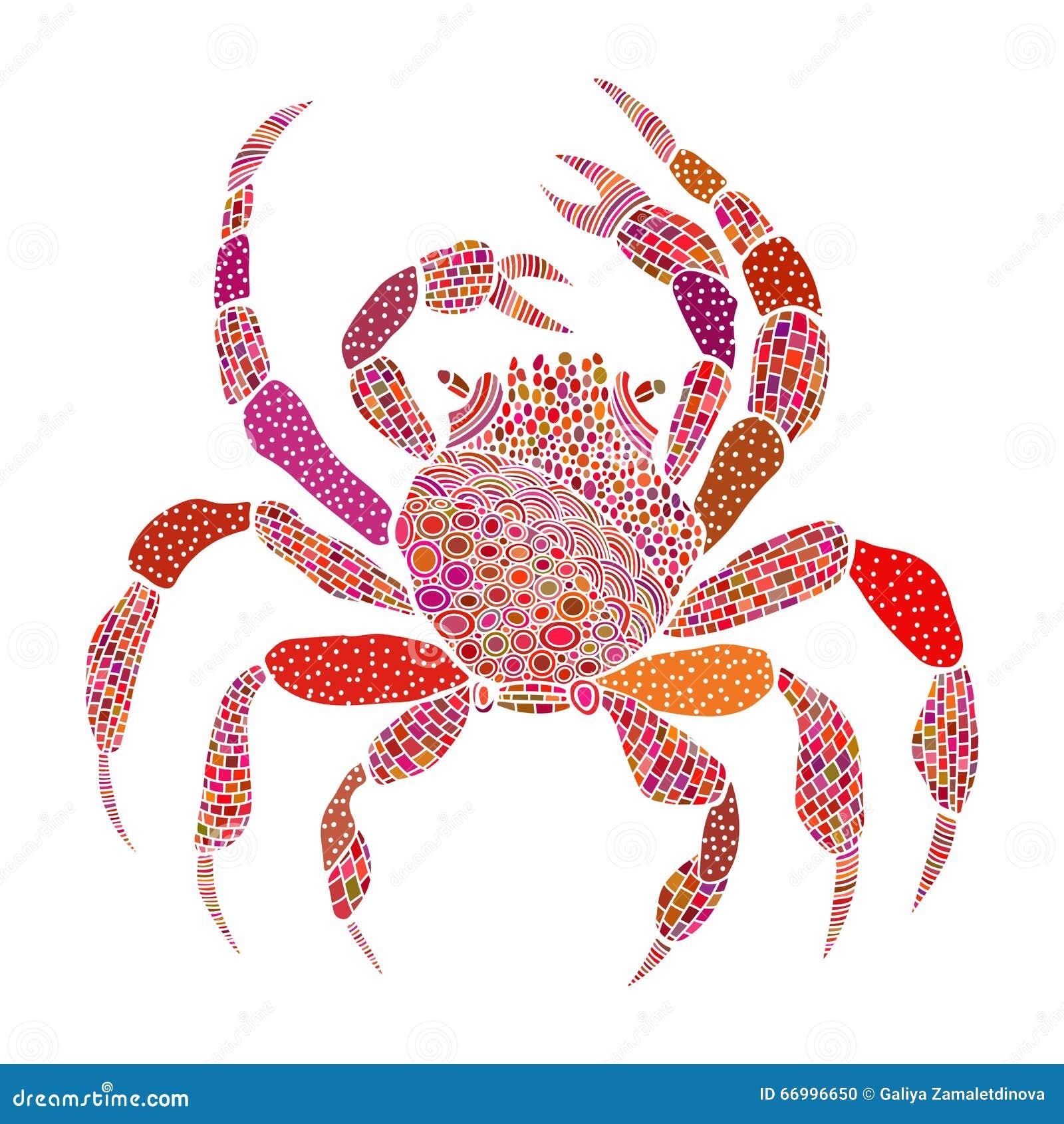 Cangrejo Coloreado En Estilo Del Zentangle Stock de ilustración ...