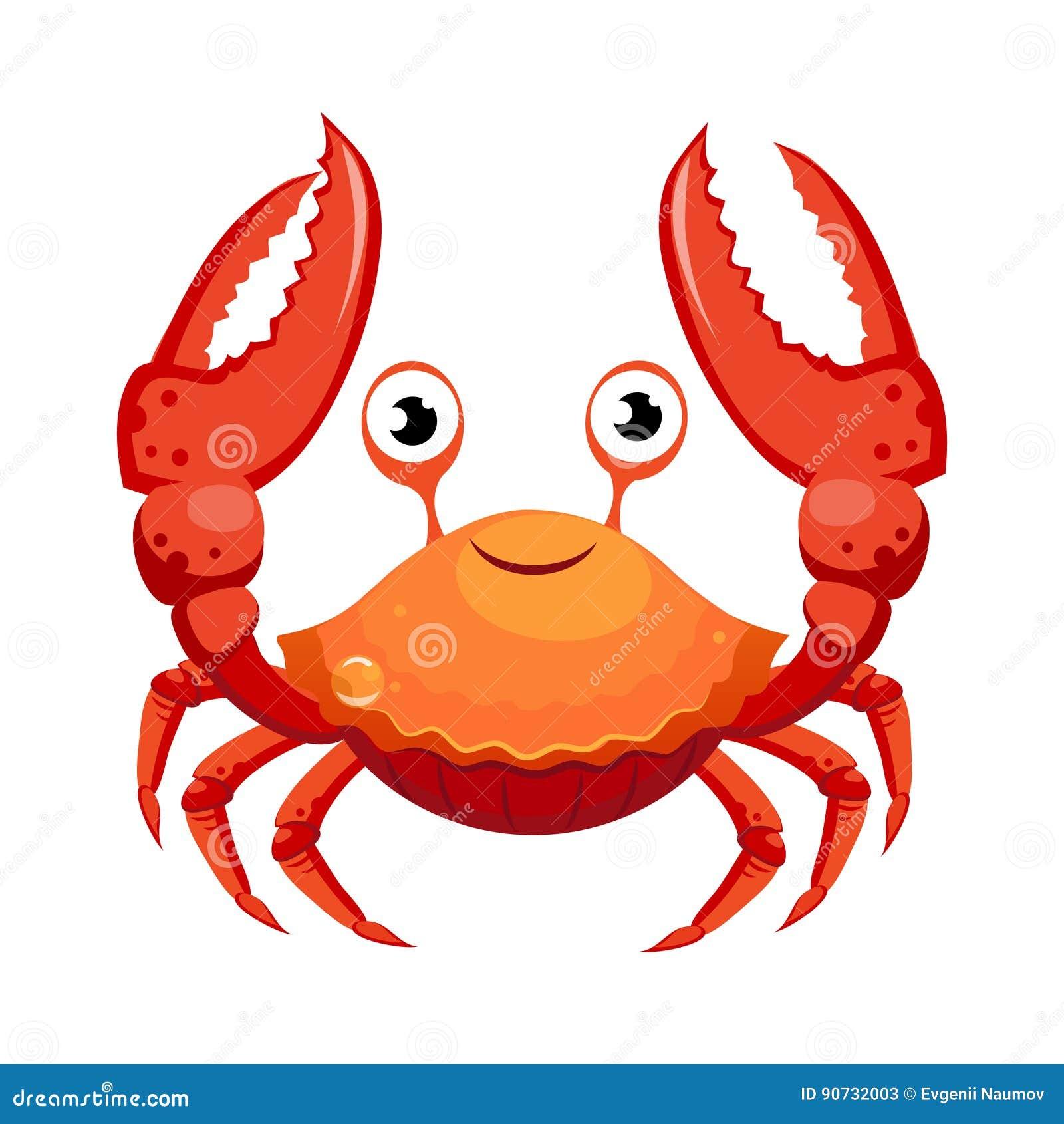 Cangrejo Rojo Criatura Del Mar Personaje De Dibujos Animados
