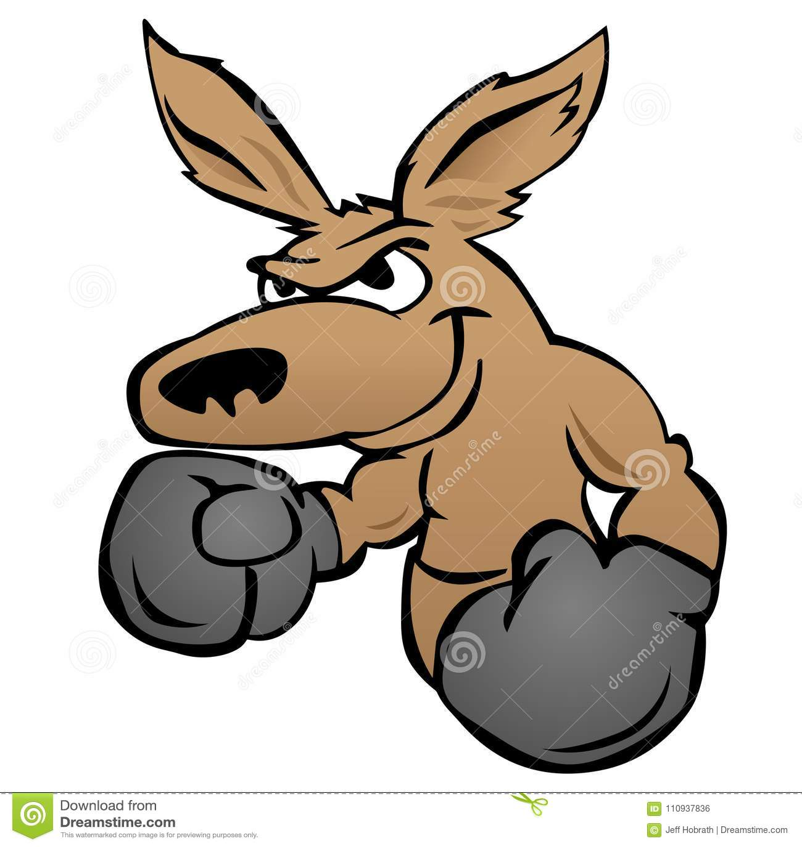 Canguro lindo con el ejemplo del vector de los guantes de boxeo
