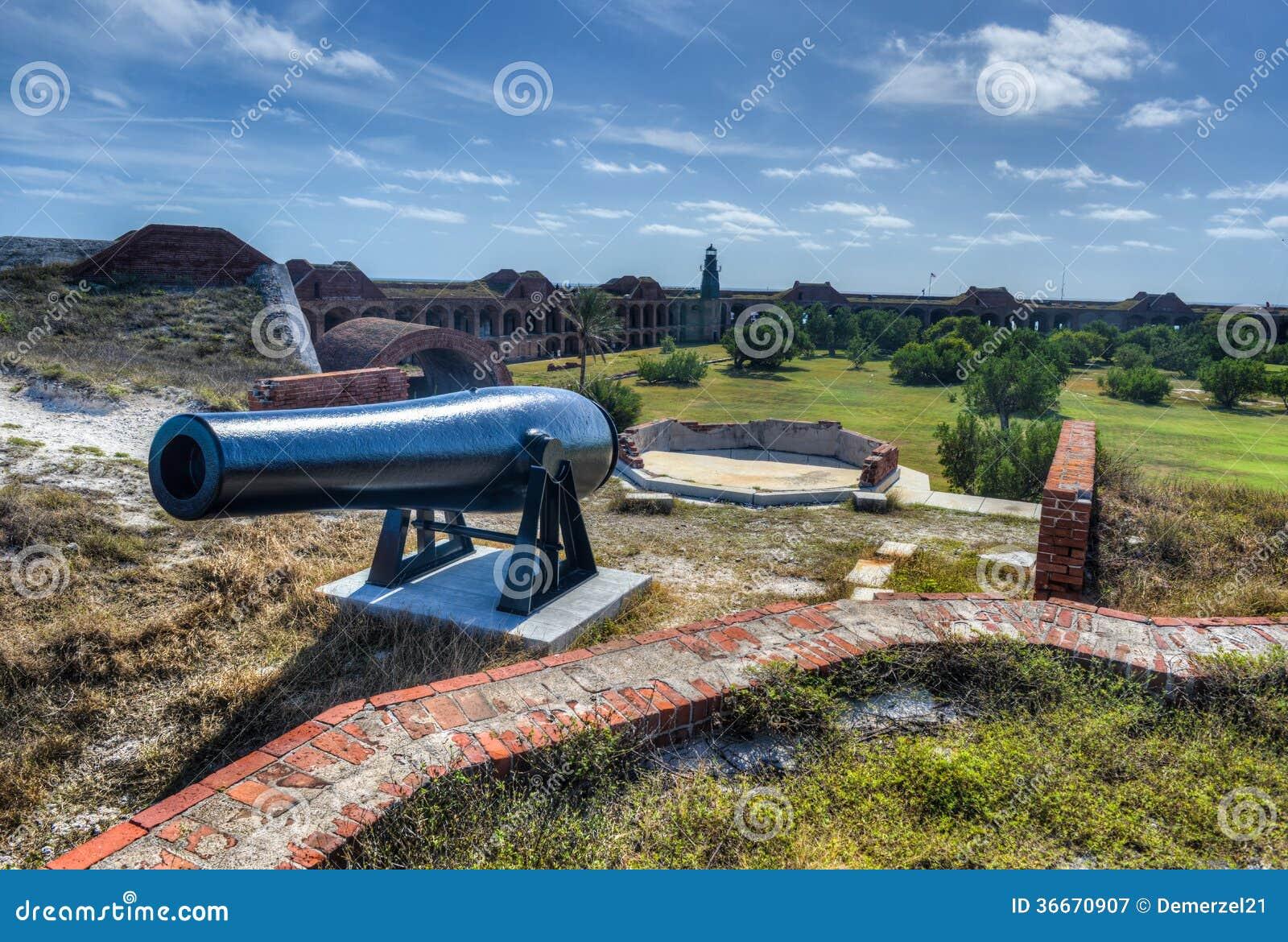 Canhão no forte Jefferson, Florida