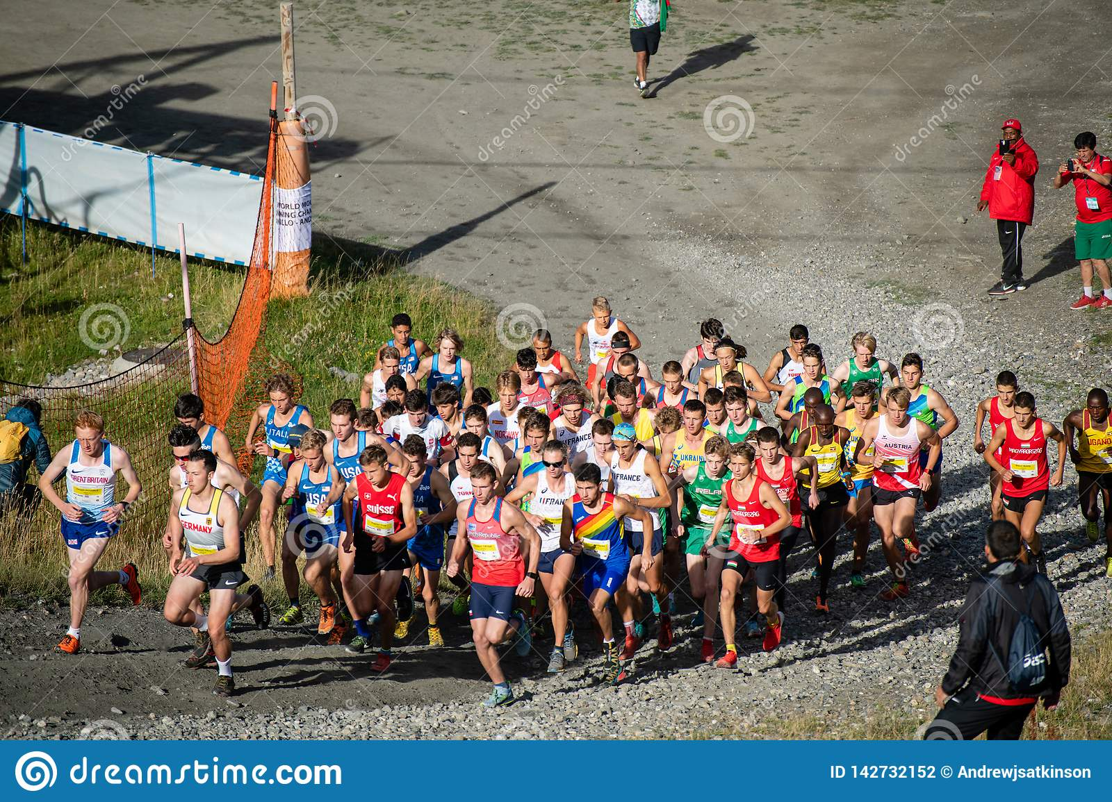 Runners up the first hill in the World Mountain Running Championships Race