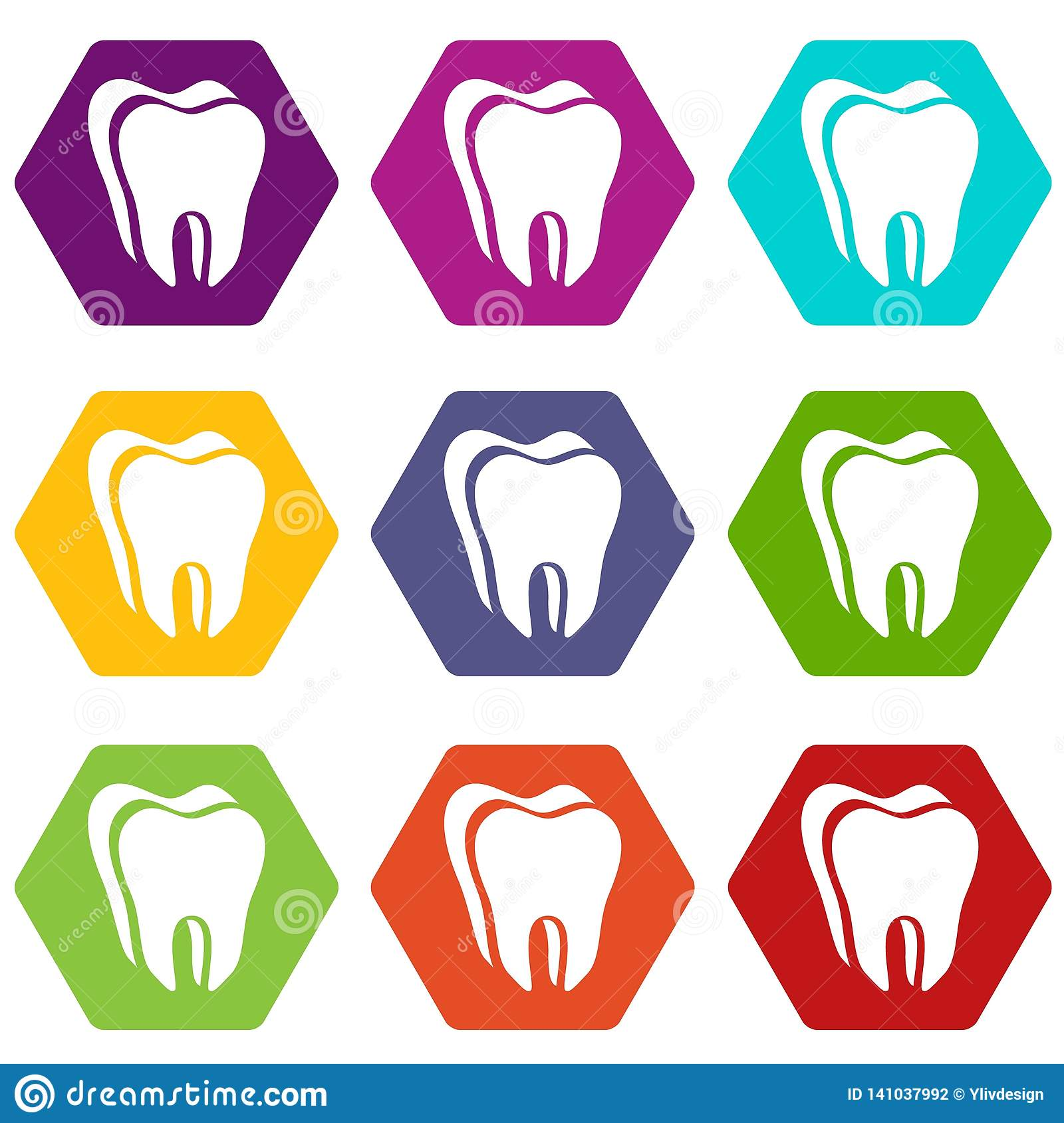 Canine tooth icons set 9 vector