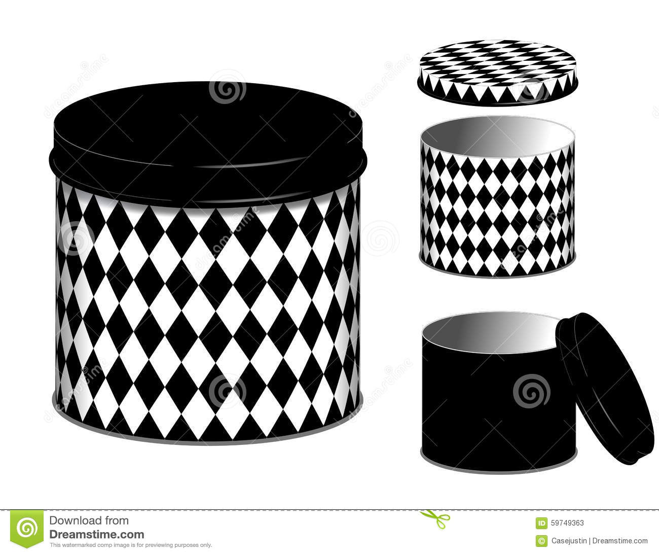 Canister Harlequin Diamond Design Cans And Lids Stock Vector Illustration Of Metal Lids