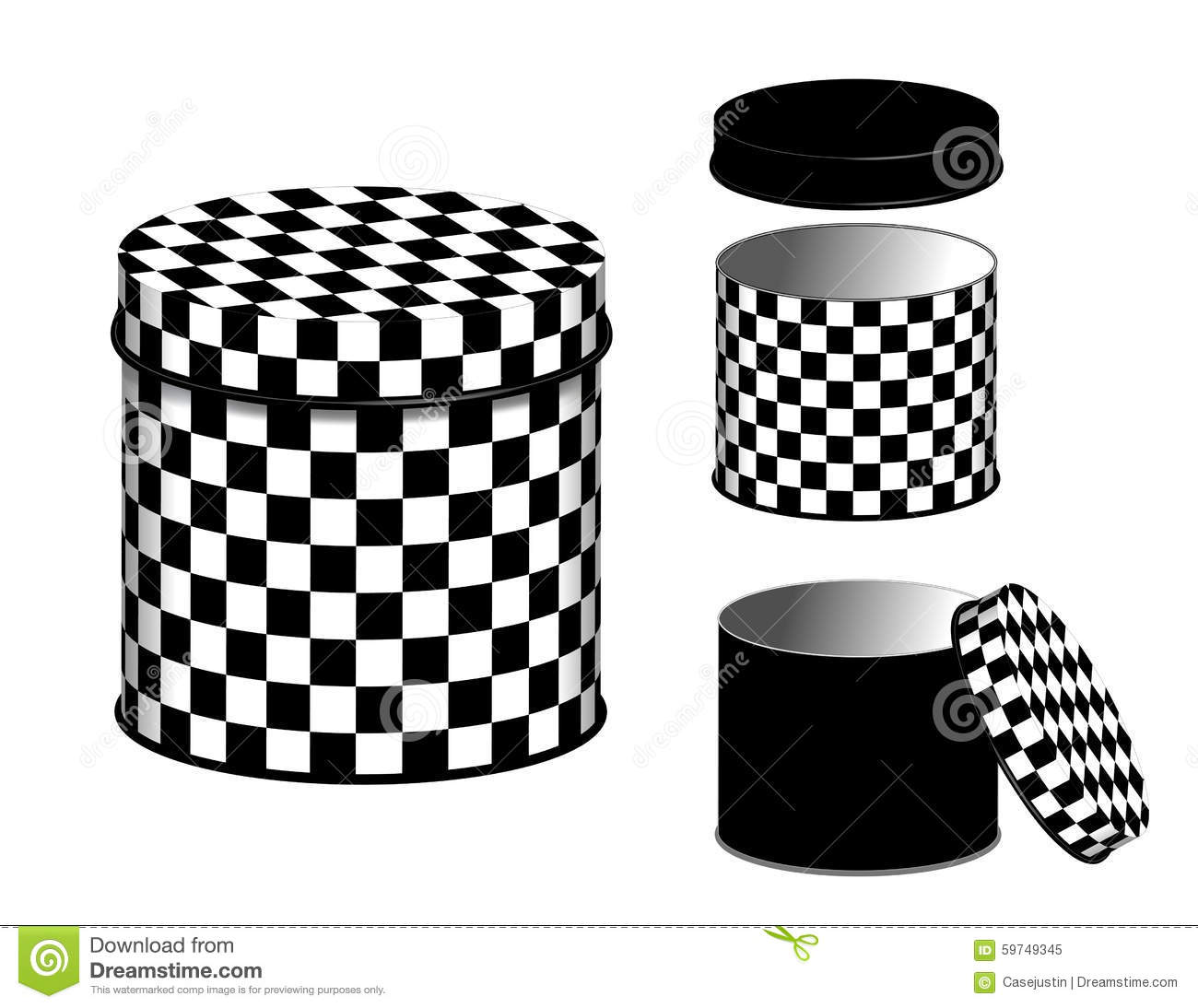 Container Home Plans: Canisters, Checkerboard Design Cans And Lids Stock Vector