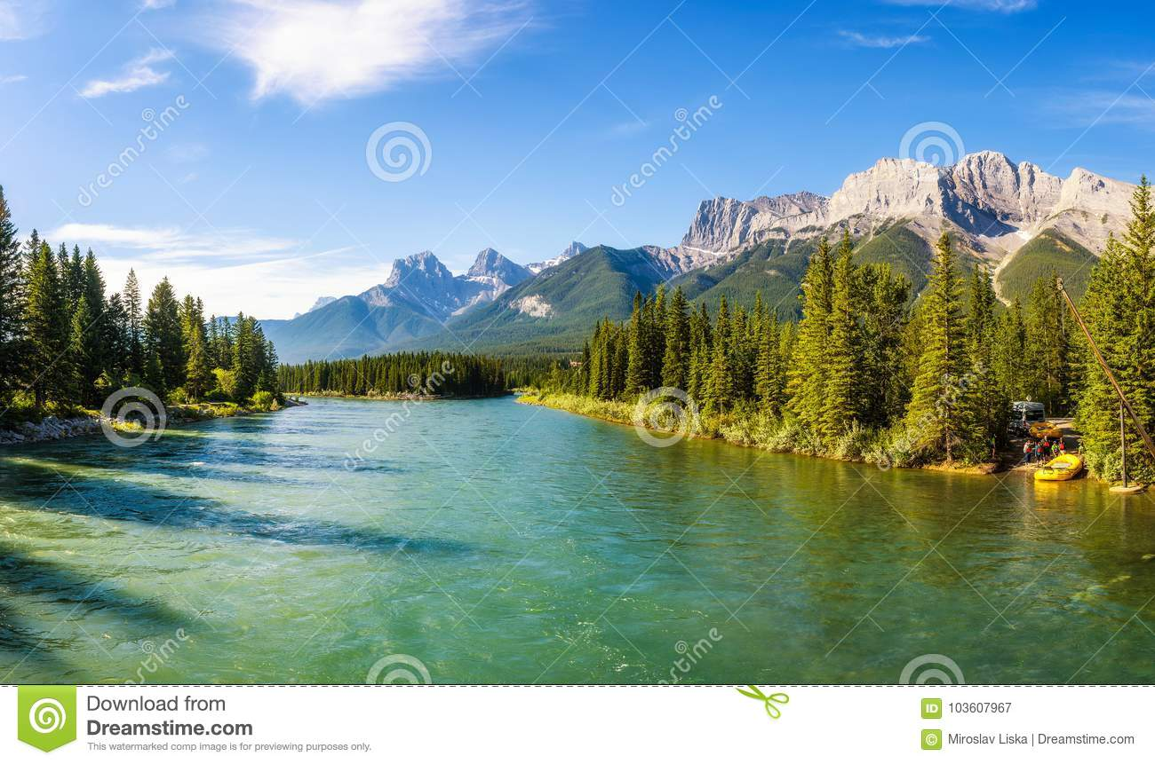 rafting on the bow river near canmore in canada editorial photography image of majestic