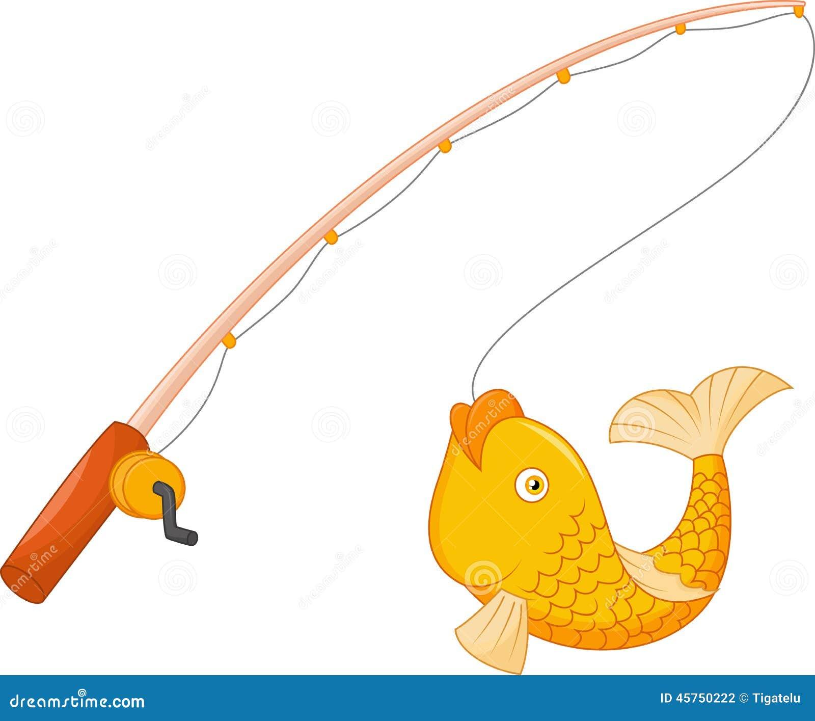 Canna da pesca con il gancio ed il pesce