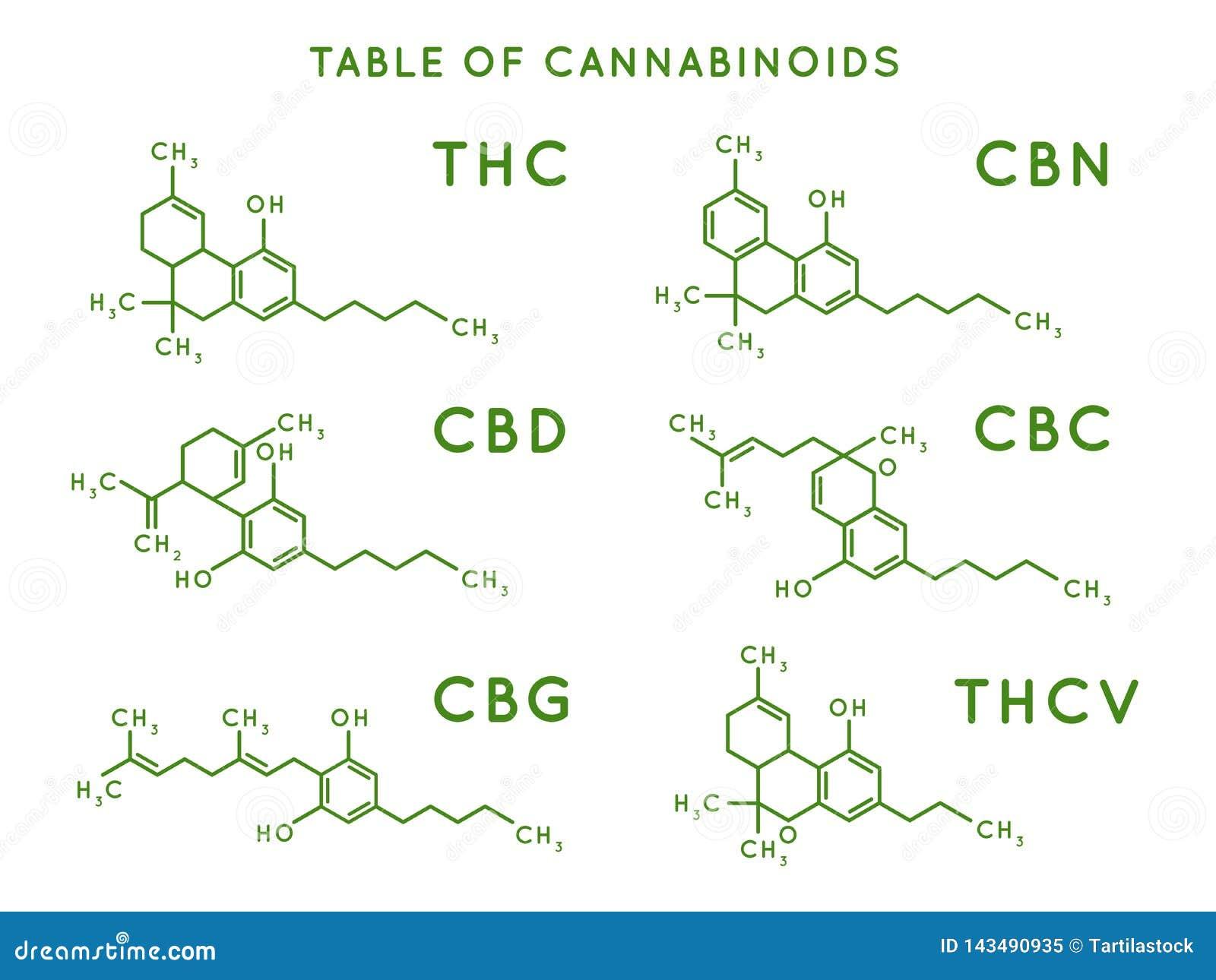 Cannabinoid struktura Cannabidiol cząsteczkowe struktury, formuła, THC i CBD Marihuany lub marihuany molekuły wektorowe