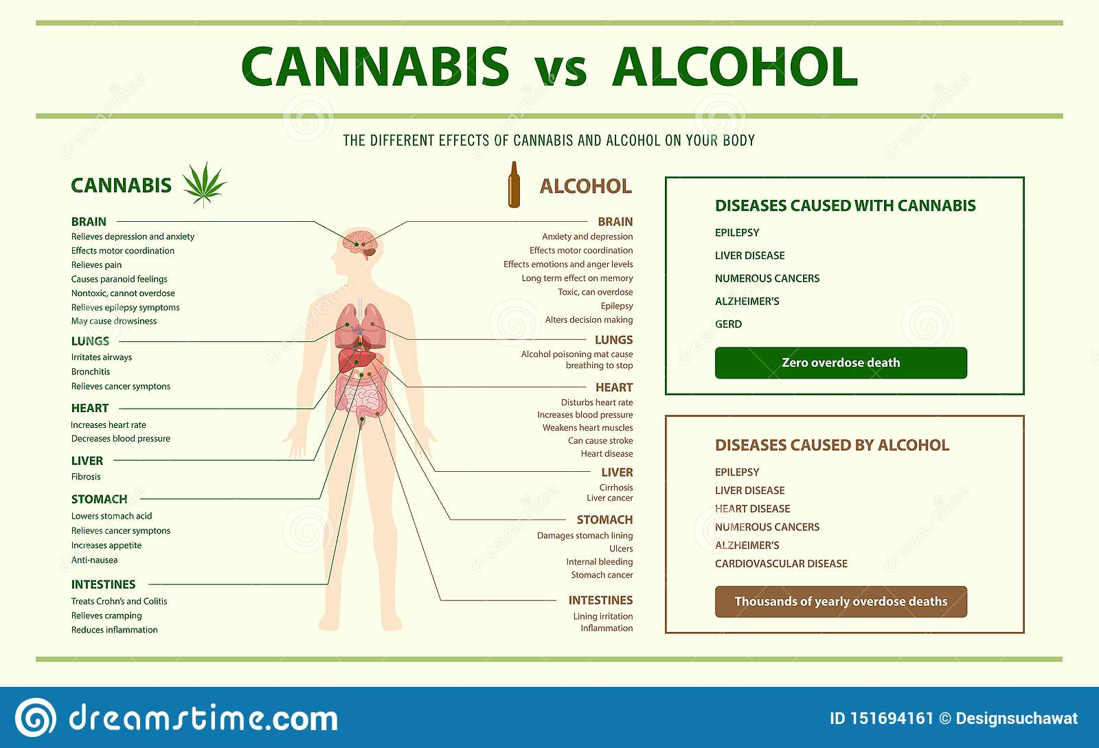 Cannabis contra infographic horizontal do álcool
