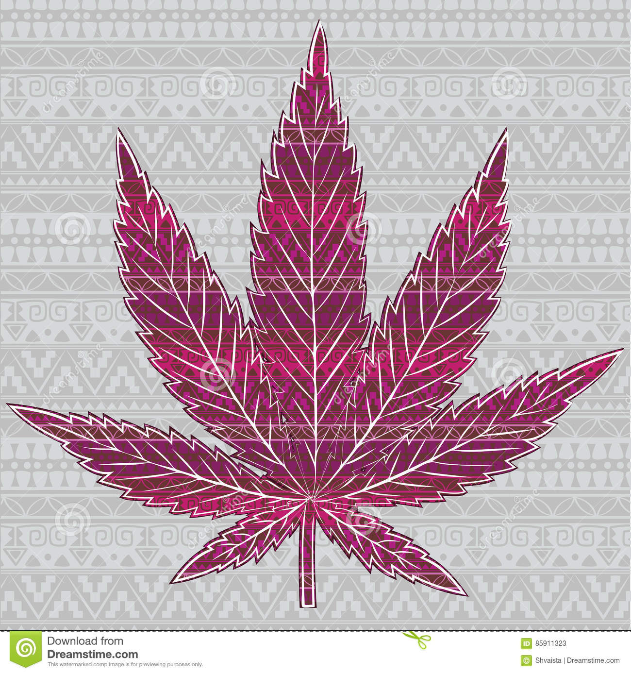 cannabis leaf with patterns