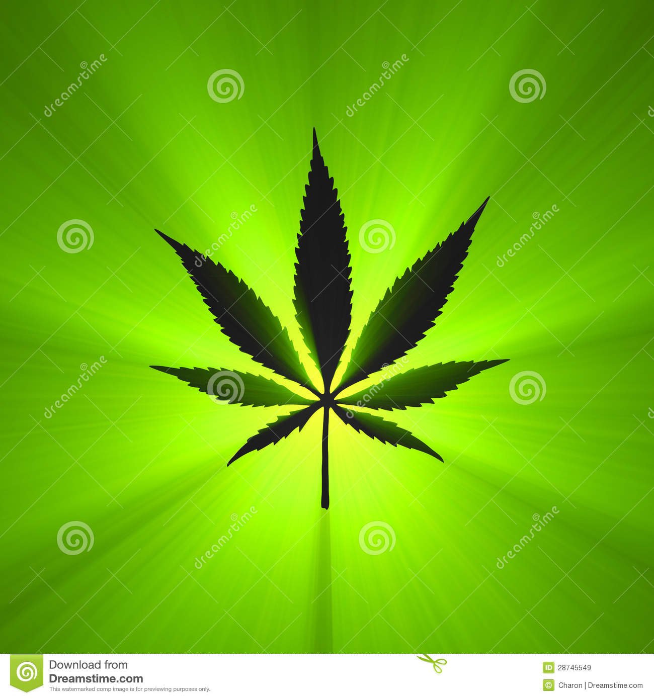 cannabis leaf symbol glowing flare stock illustration