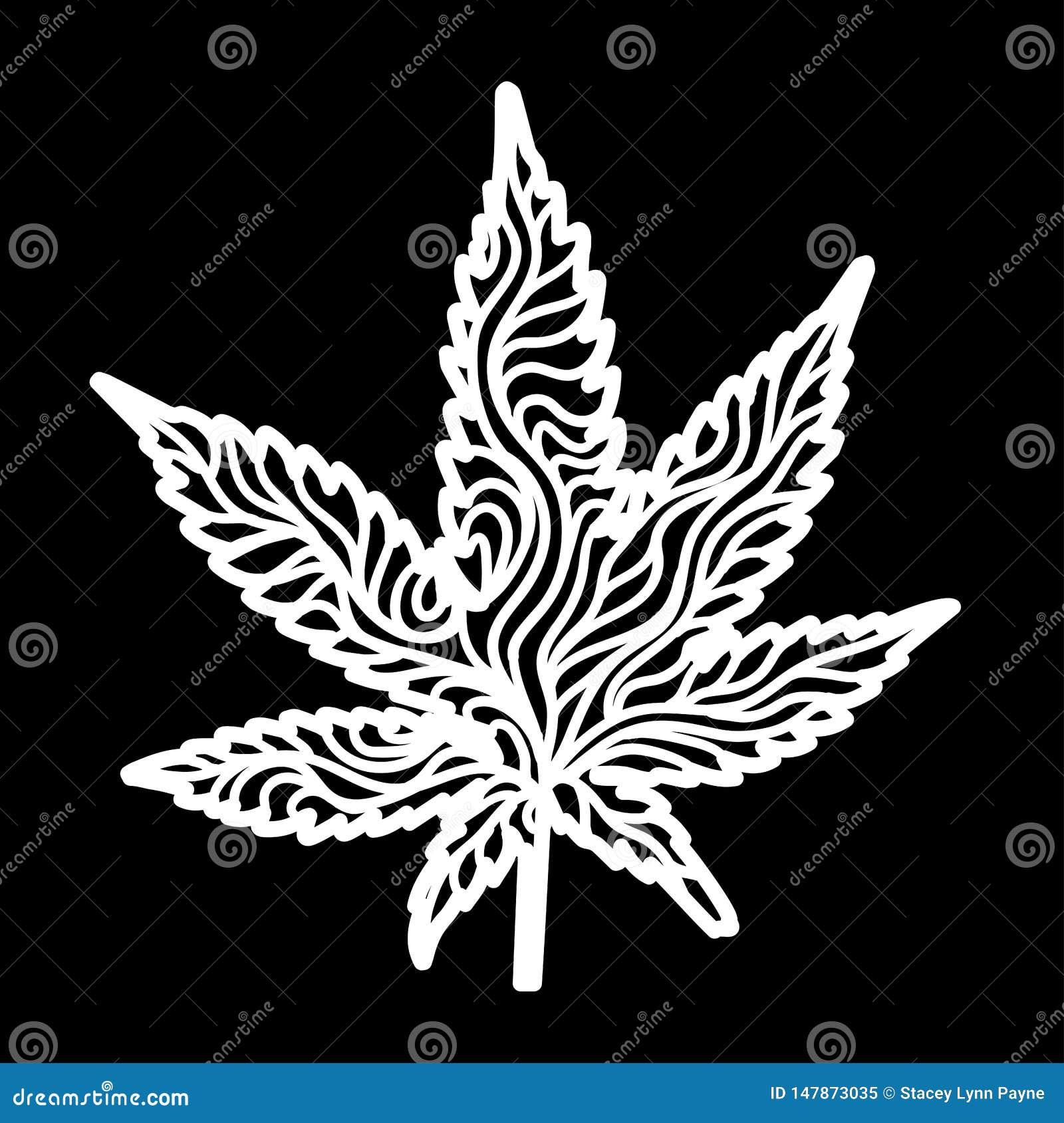 Cannabis Zen Leaf White, avec le masque
