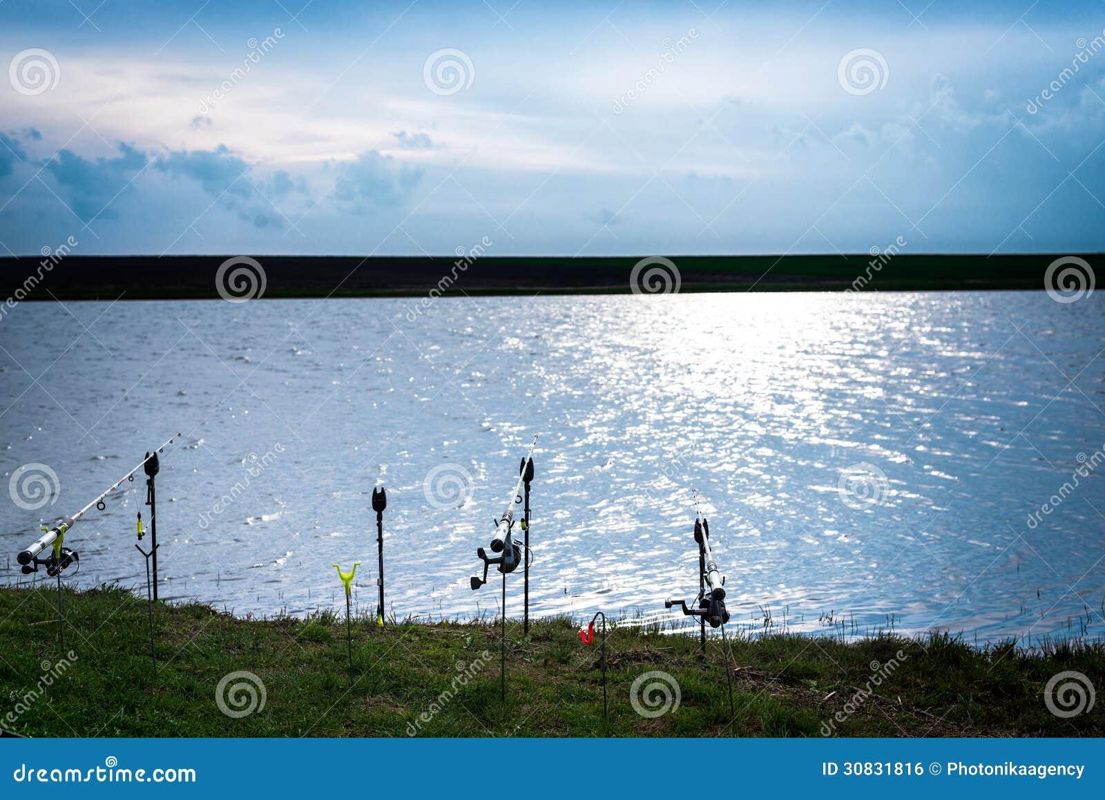 Canne da pesca al bordo di un lago