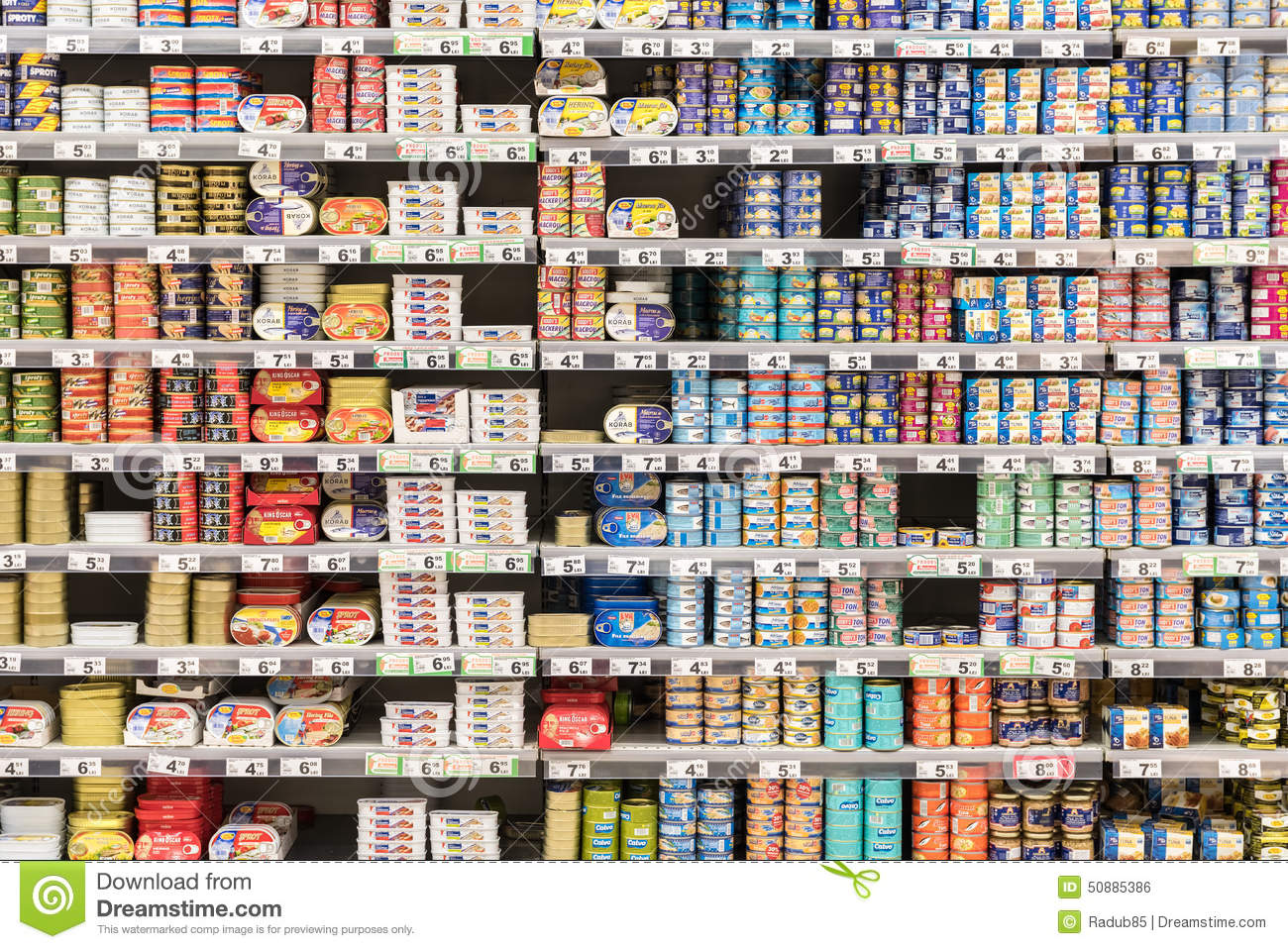 Canned Fish And Meat On Supermarket Shelves