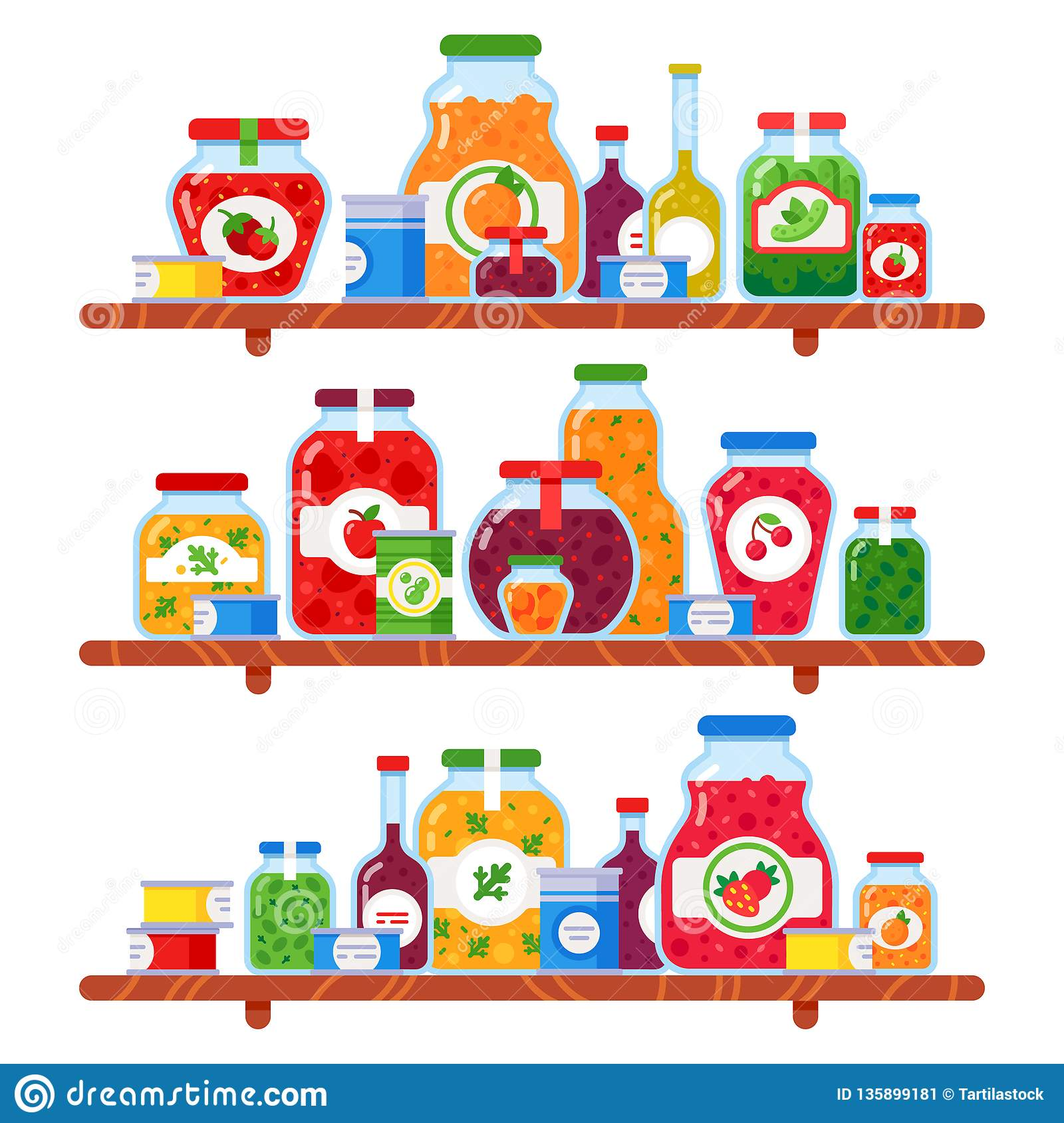 Canned food shelf. Preserved peas, meal on store shelves and conserved vegetables culinary products isolated vector