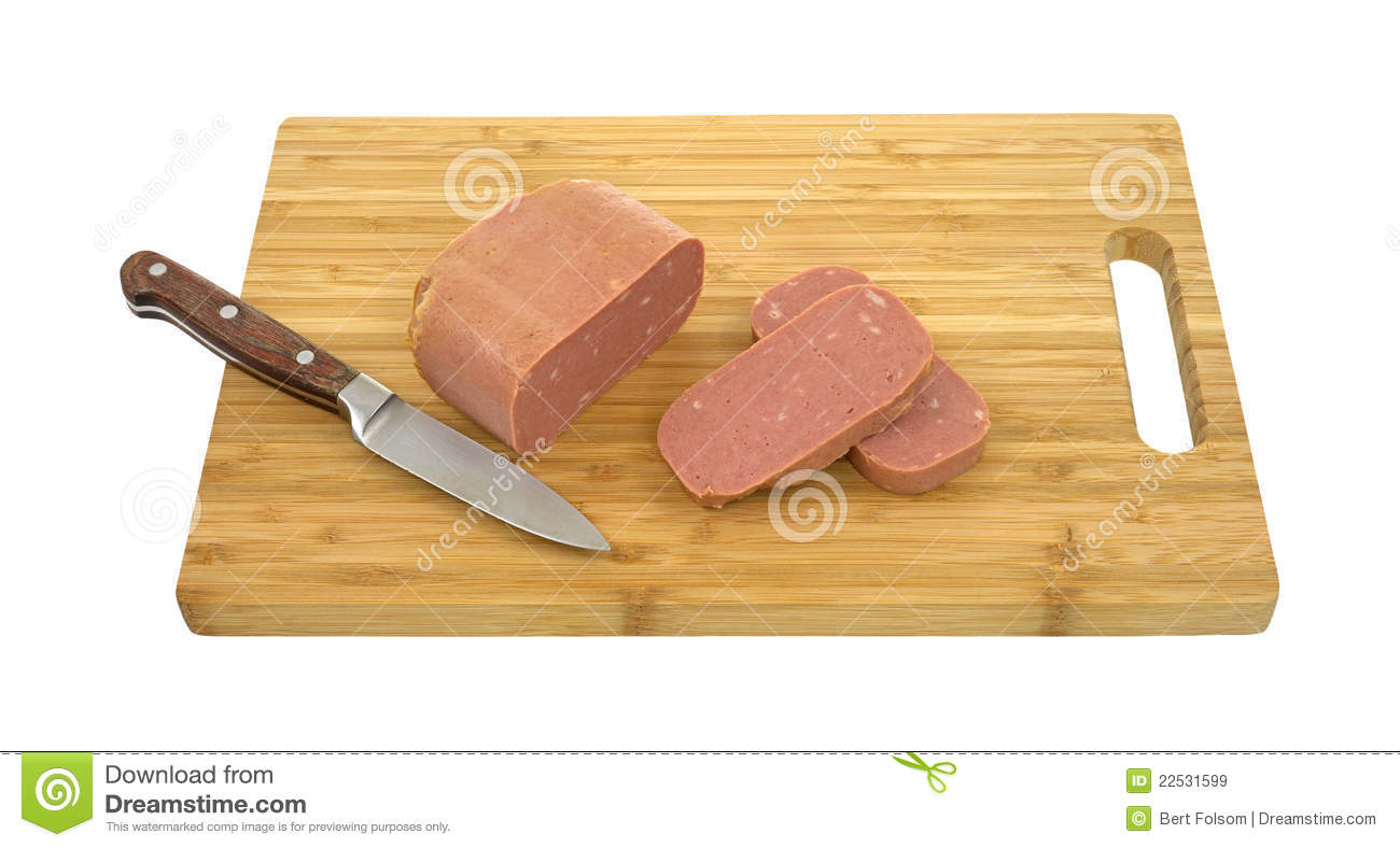 canned meat on cutting board with knife stock image image 22531599. Black Bedroom Furniture Sets. Home Design Ideas