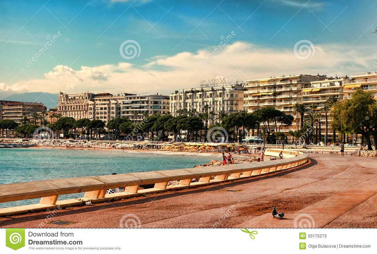 cannes france july 5 2014 the beach in cannes cannes loca editorial stock photo image of. Black Bedroom Furniture Sets. Home Design Ideas