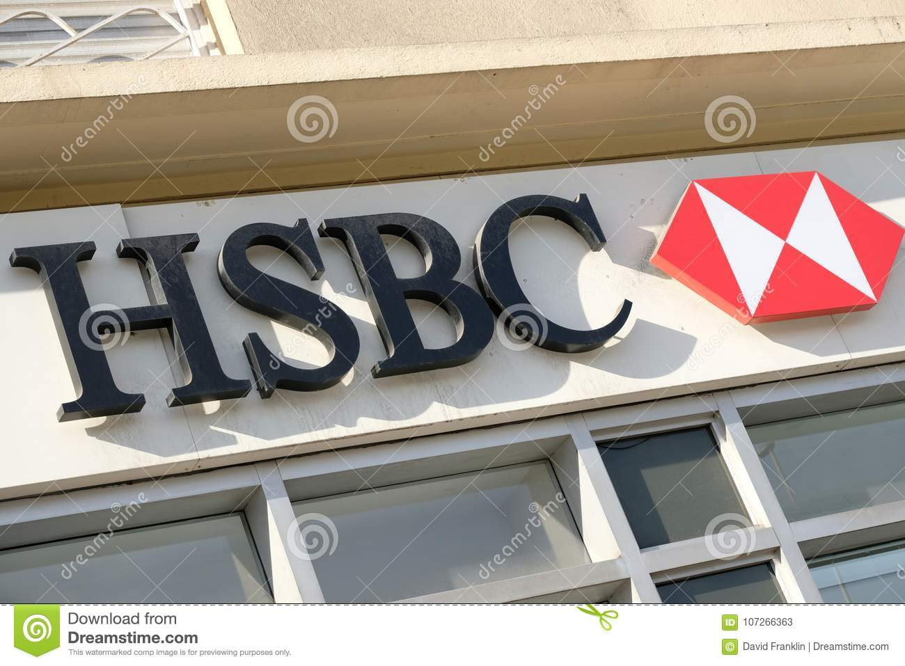 Cannes, France - October 25, 2017 : Close Up Of HSBC Bank Entrance
