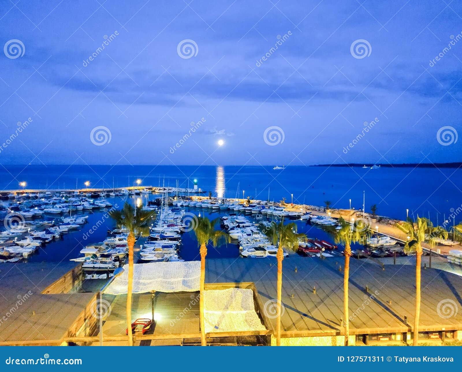 Cannes - Kleine die jachten in haven worden verankerd
