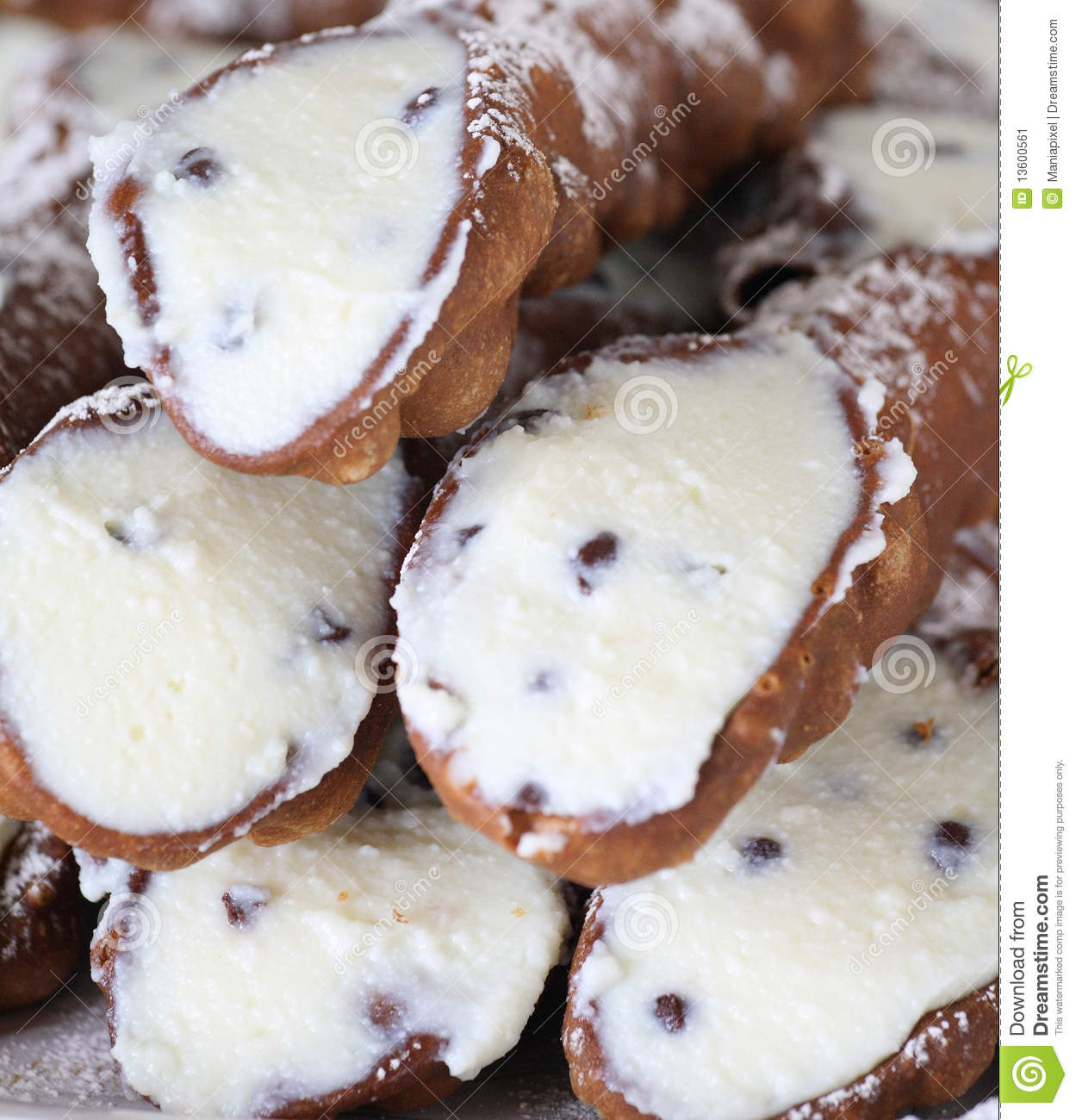 Sicilian cannoli filled with ricotta and chocolate chips.