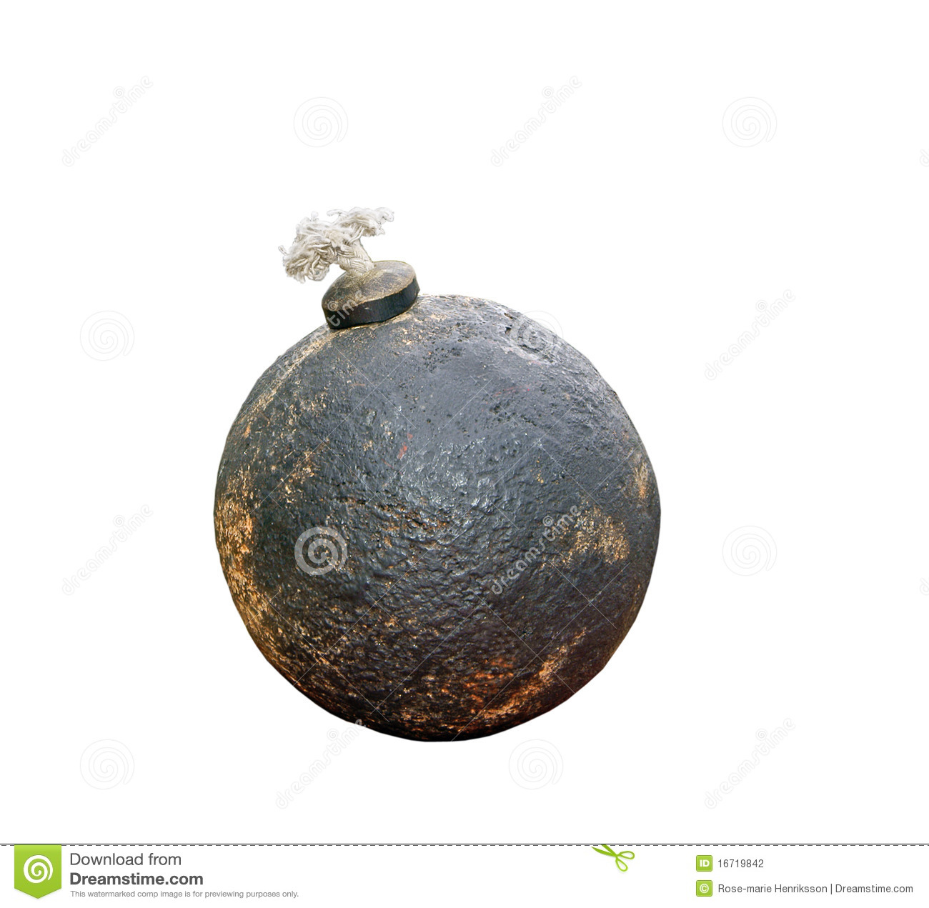 Cannon ball. Dummy made for demonstration of revolutionary war ...