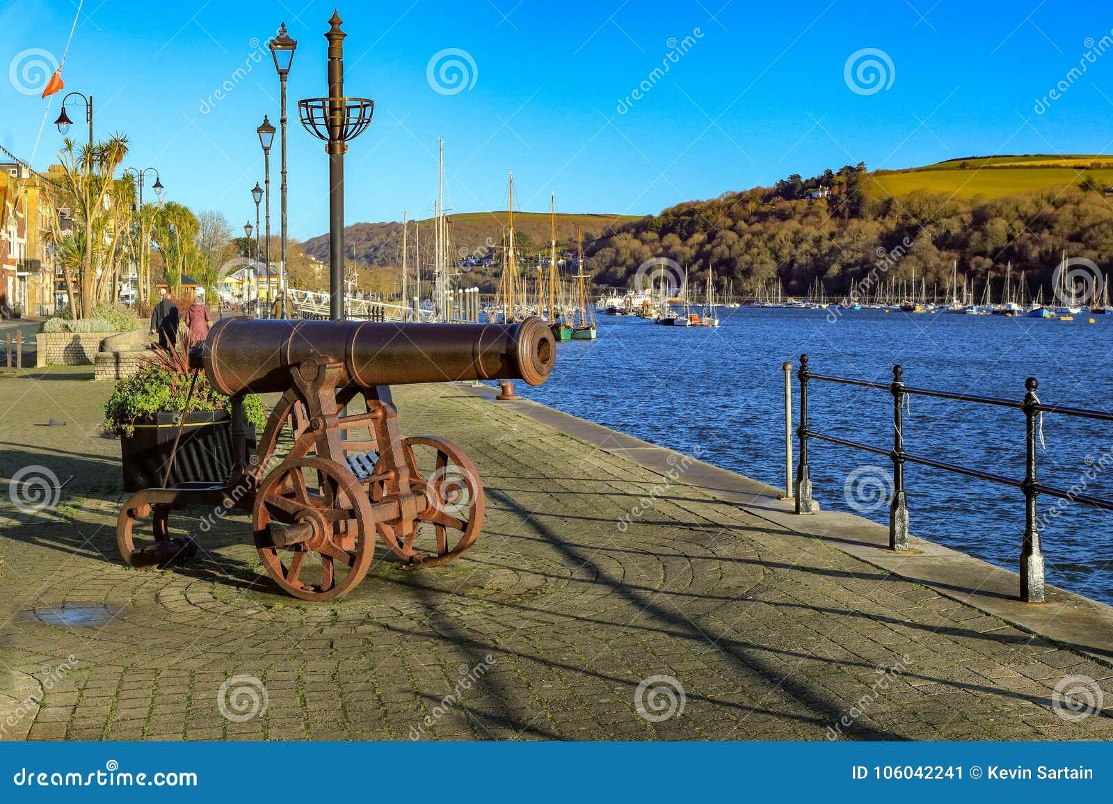 Cannon on the quay in Dartmouth Devon UK