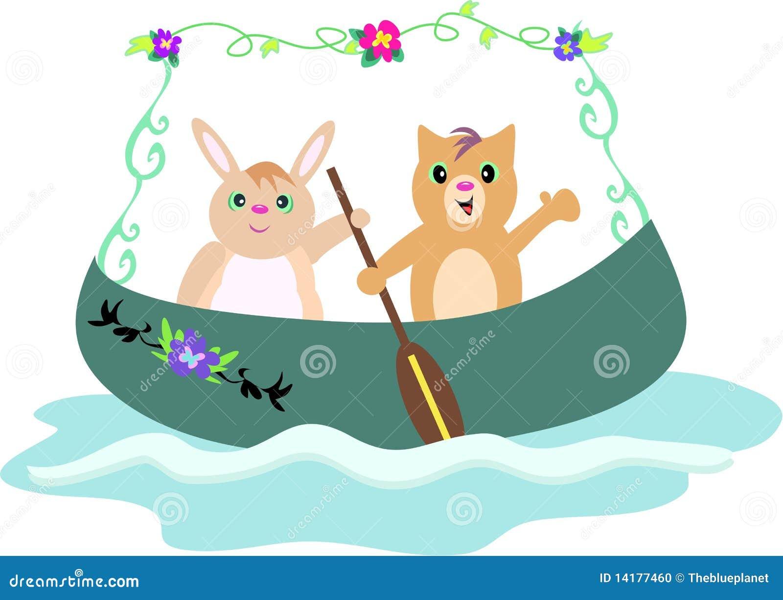 Canoa Con Los Amigos Del Conejo Y Del Gato Ilustración del Vector ...