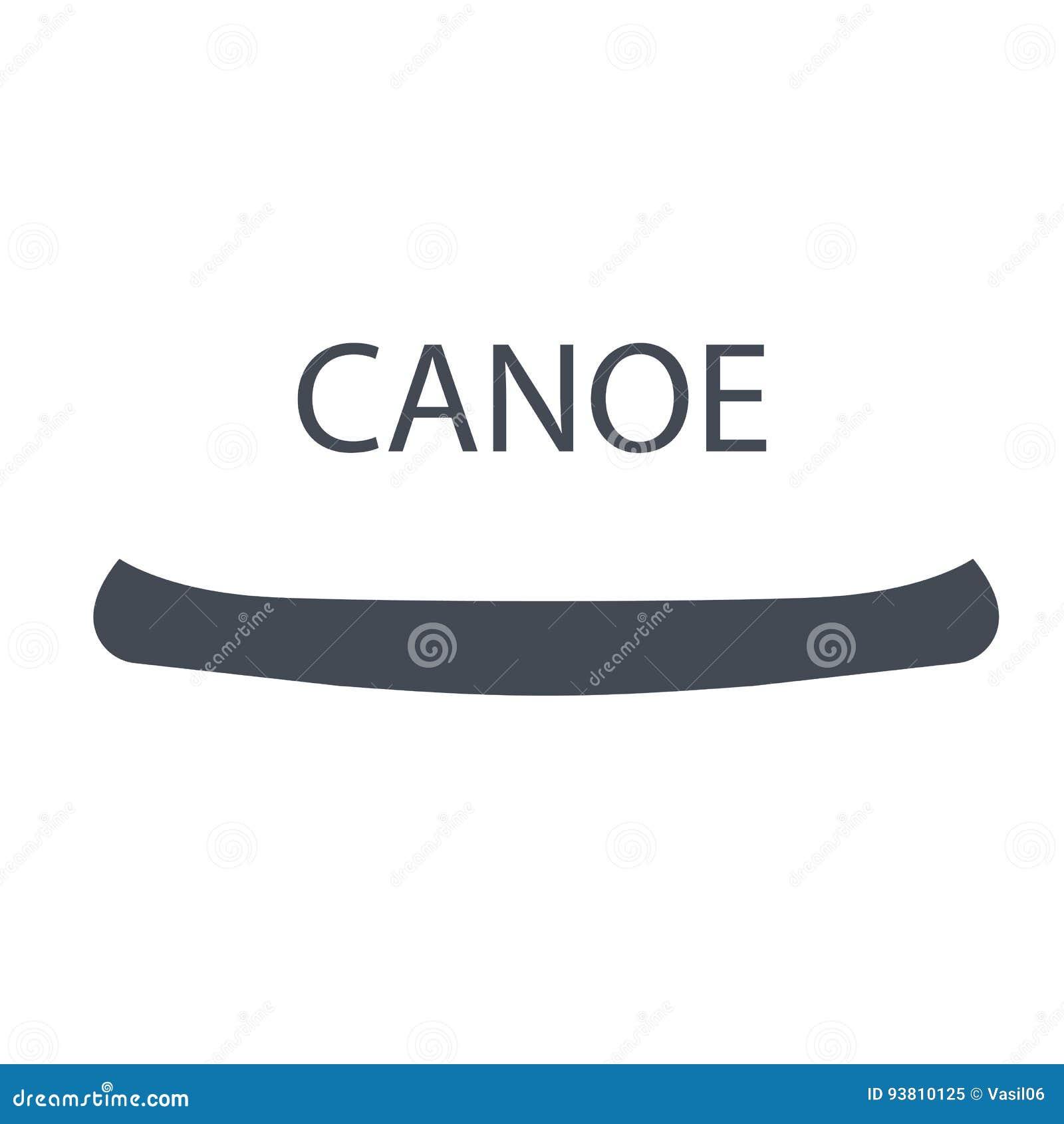 Canoa monocromatica, illustrazione isolata di vettore