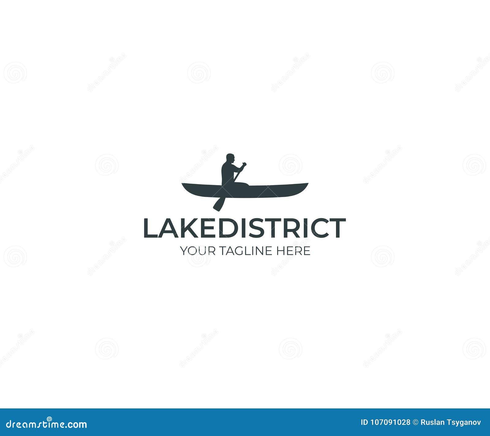 Canoeing Logo Template. Man In Paddling Boat Vector Design Stock ...