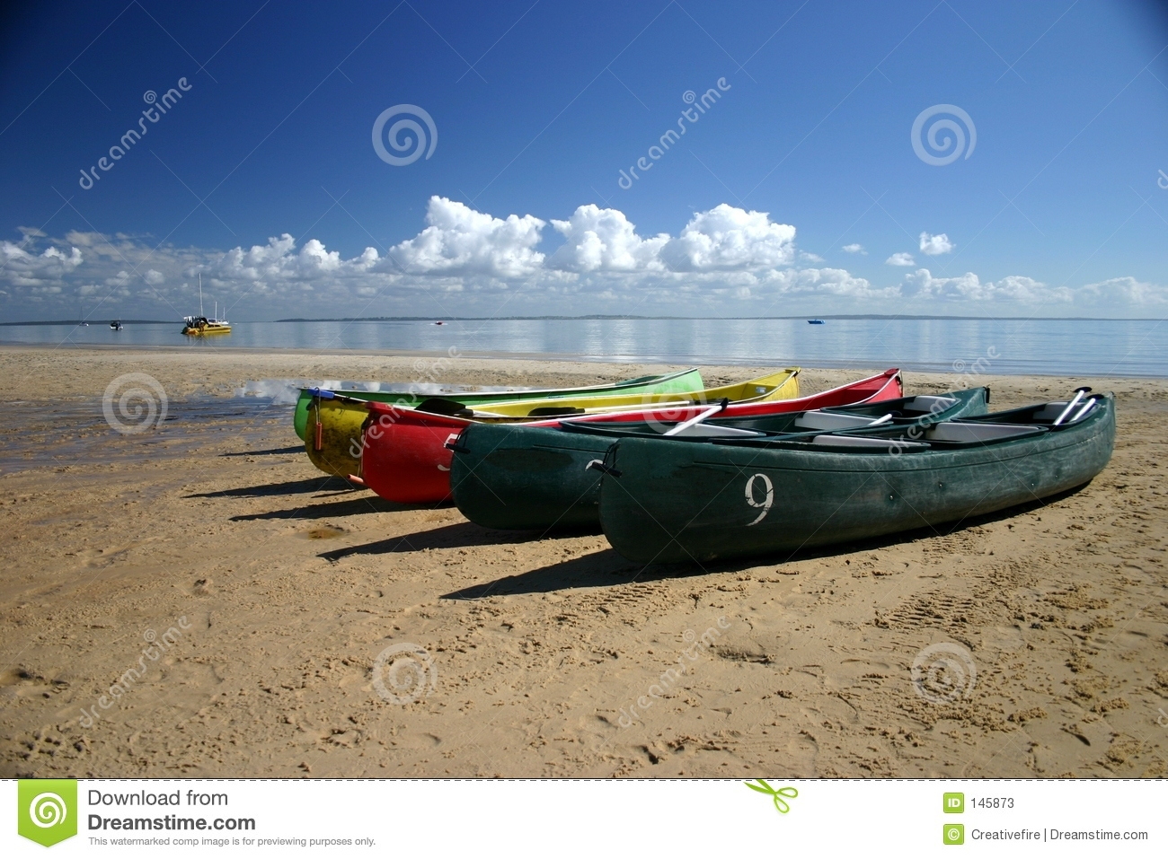 Canoes on Beach stock image. Image of canoes, holiday ...
