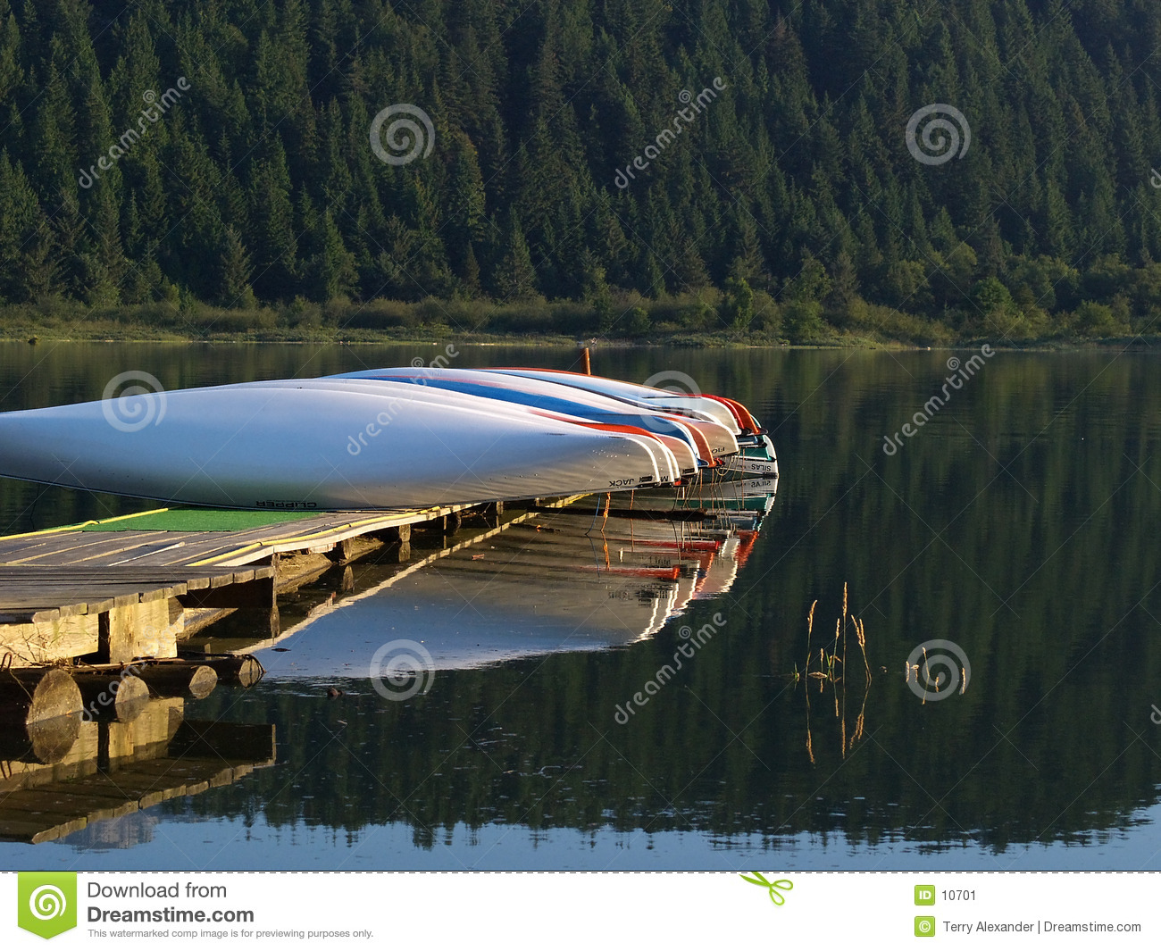 Canoes in early morning light
