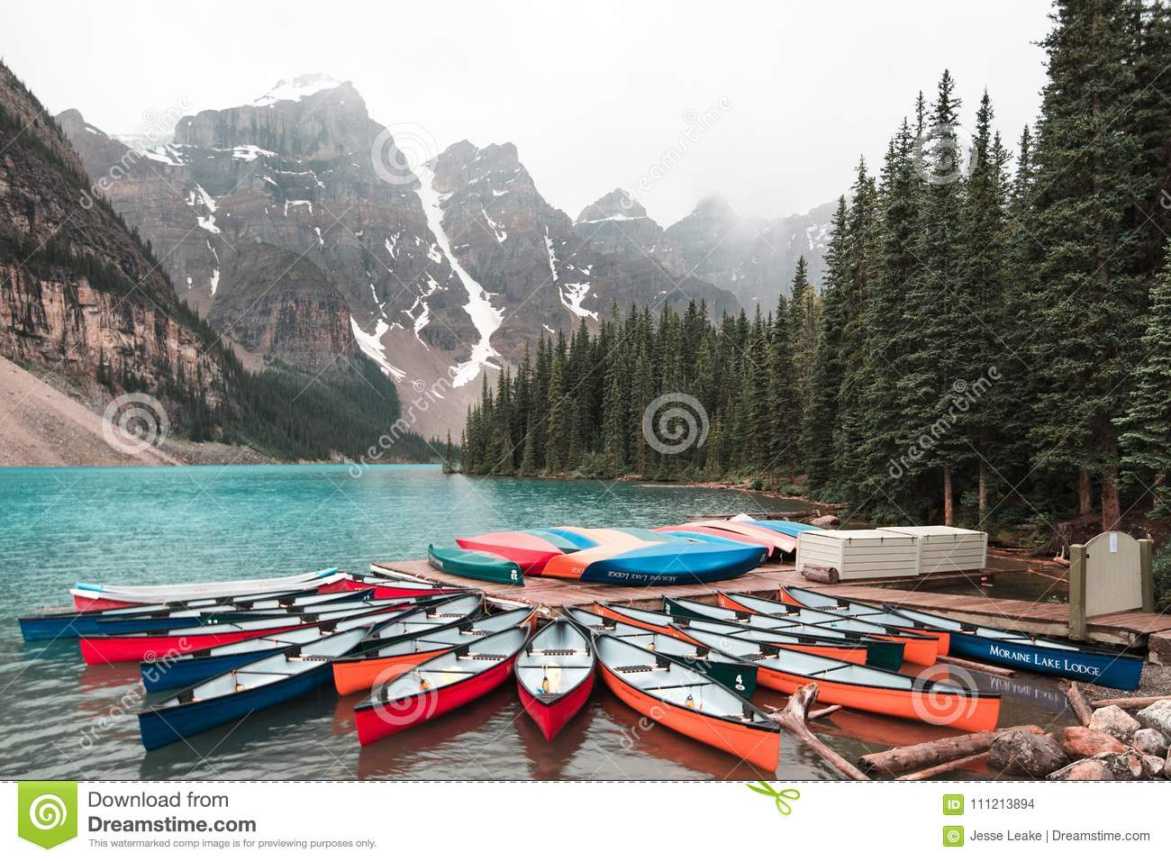 Canoes At Moraine Lake Alberta Editorial Stock Image Image