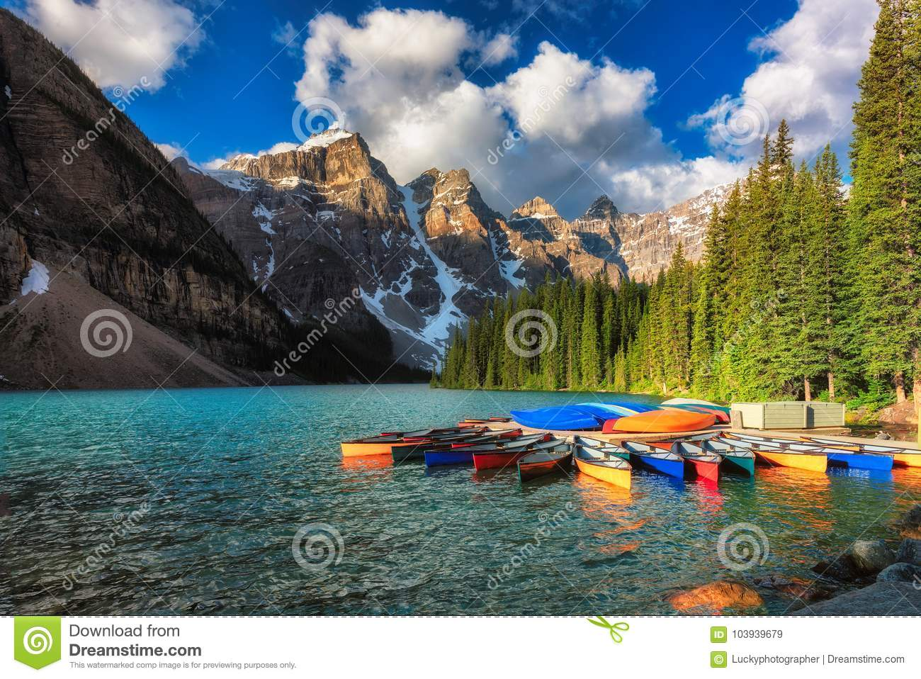 Download Canoes On Moraine Lake, Banff National Park In The Rocky Mountains, Alberta, Canada. Stock Image - Image of above, beautiful: 103939679