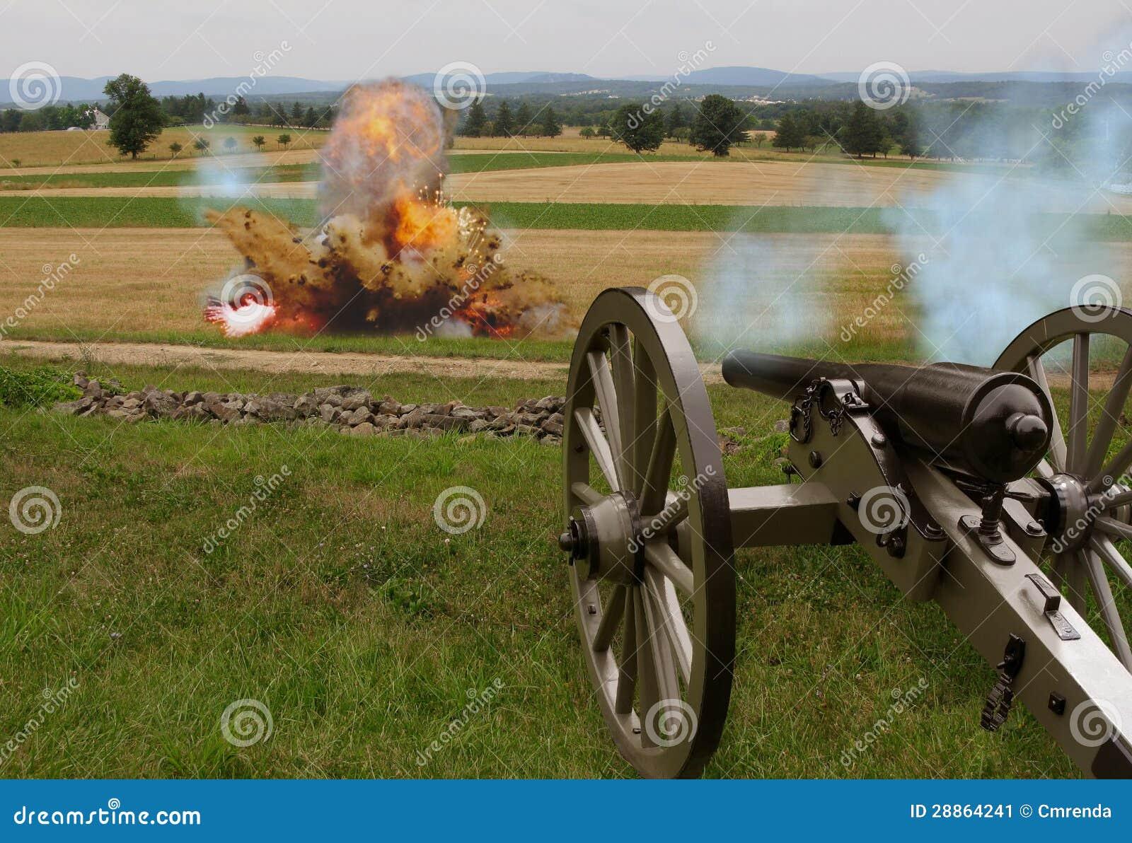 Canon de guerre civile avec l explosion