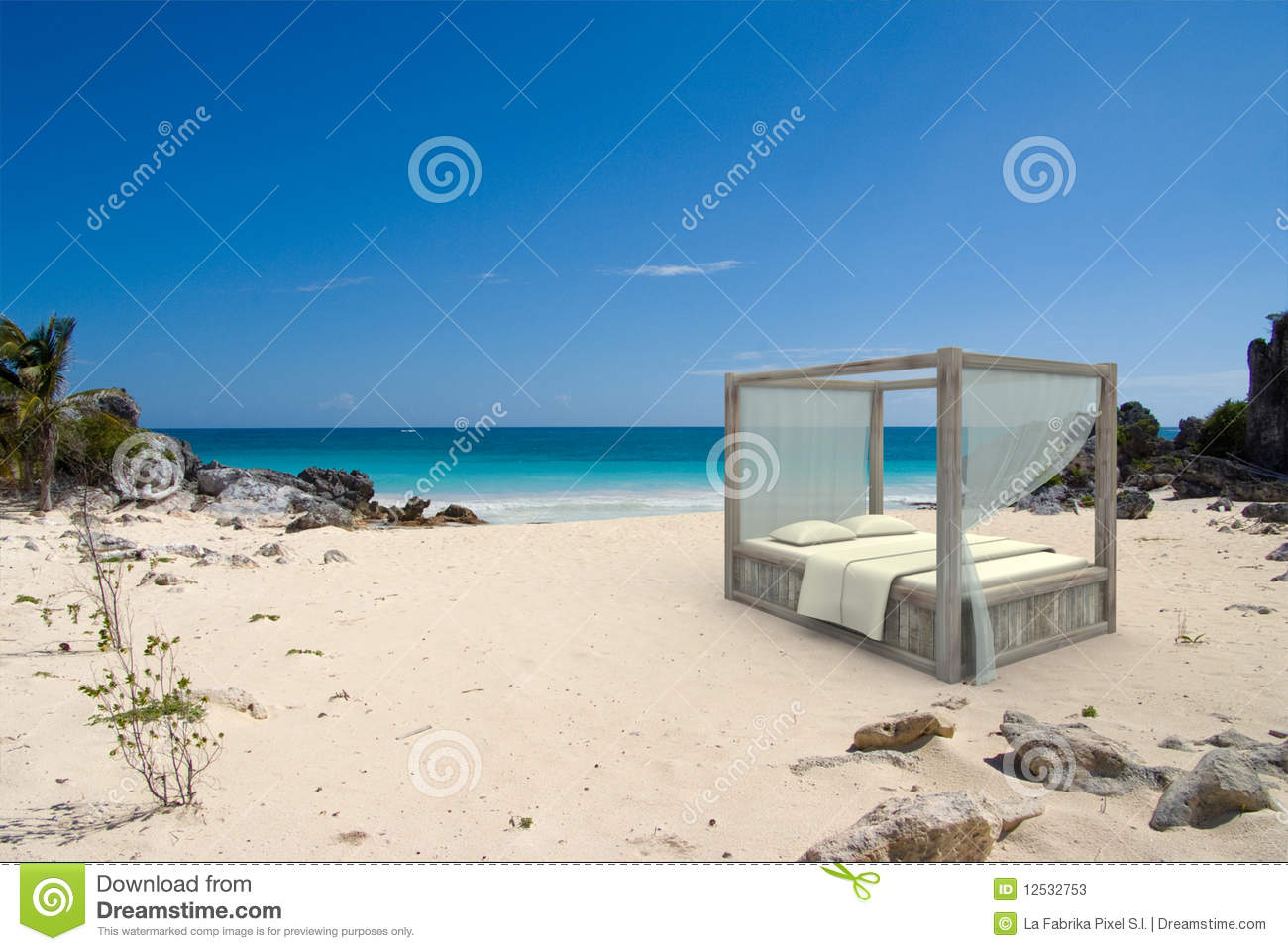 canopy bed at the beach stock photos image 12532753. Black Bedroom Furniture Sets. Home Design Ideas