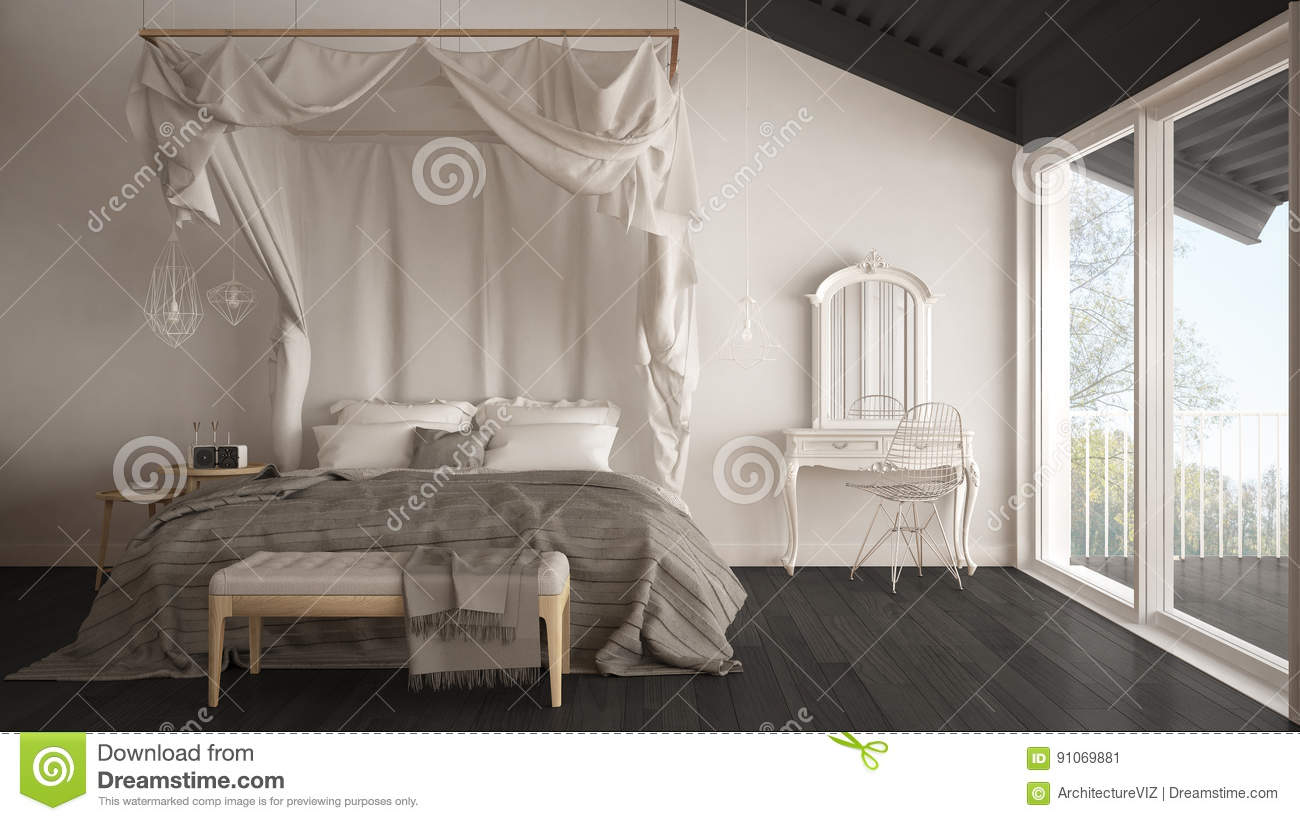 Canopy Bed In Minimalistic White And Gray Bedroom With Big