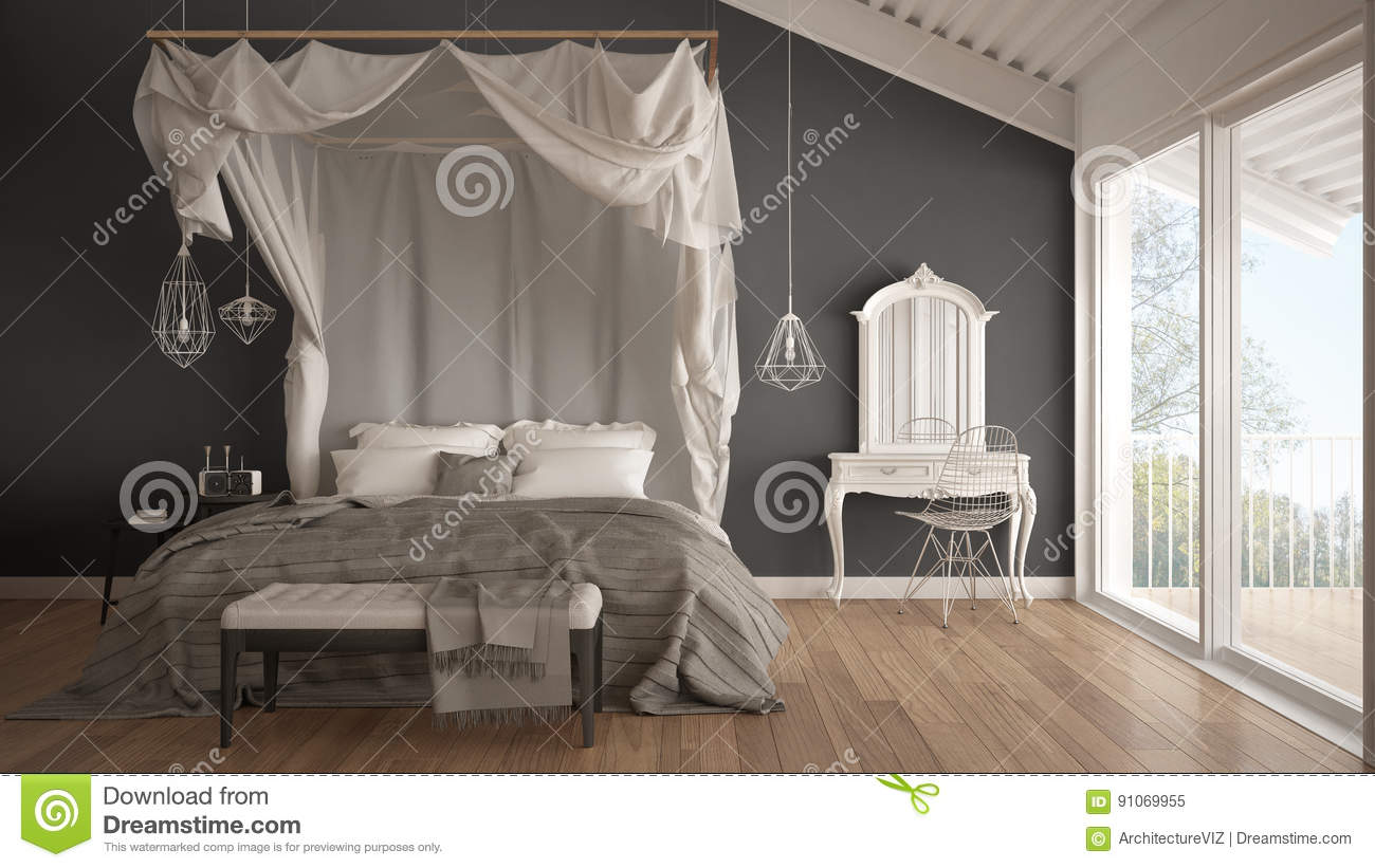 Canopy bed in minimalistic white and gray bedroom with big windo & Canopy Bed In Minimalistic White And Gray Bedroom With Big Windo ...