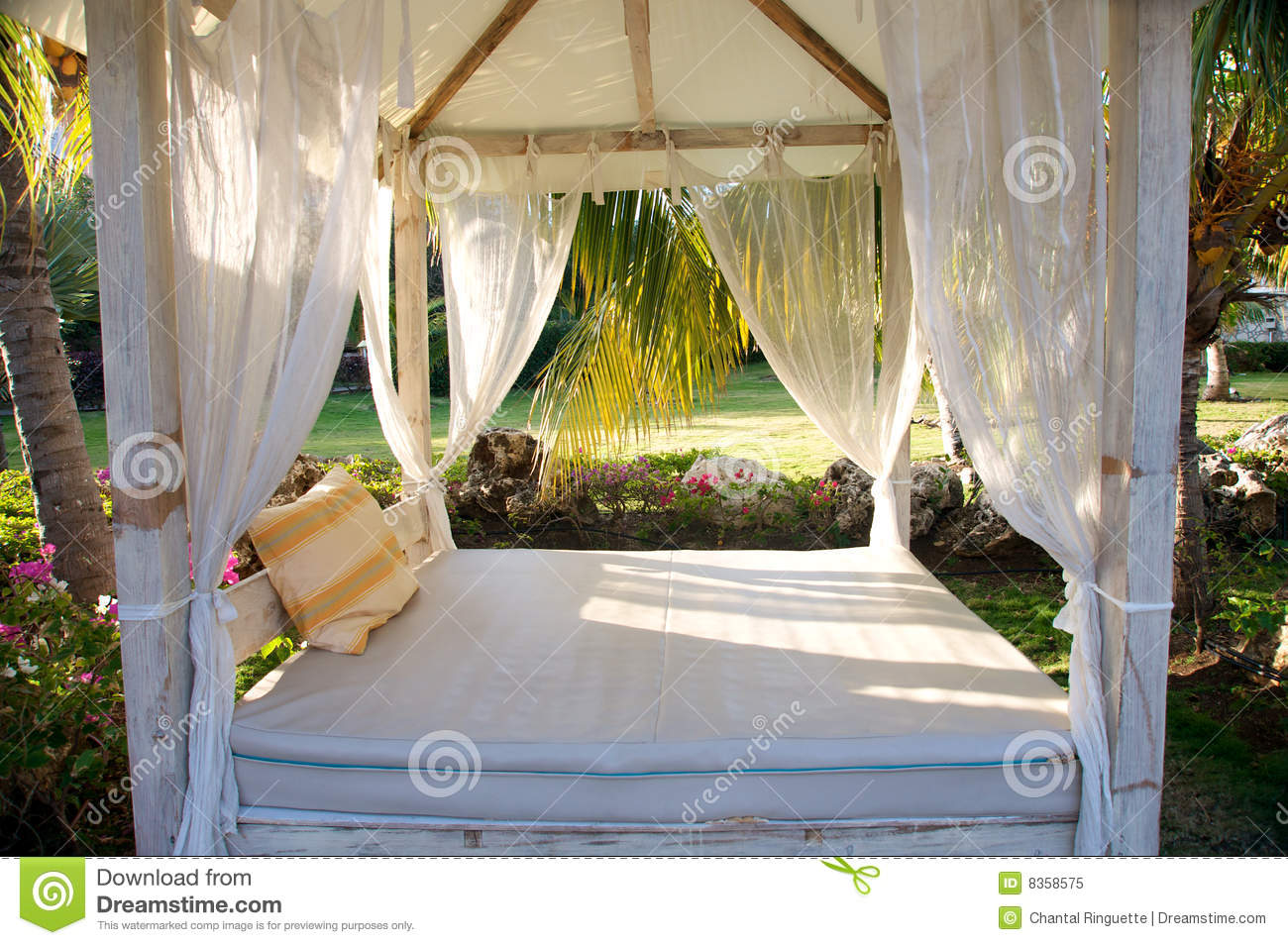 Canopy bed in tropical resort royalty free stock photo for Tropical canopy bed