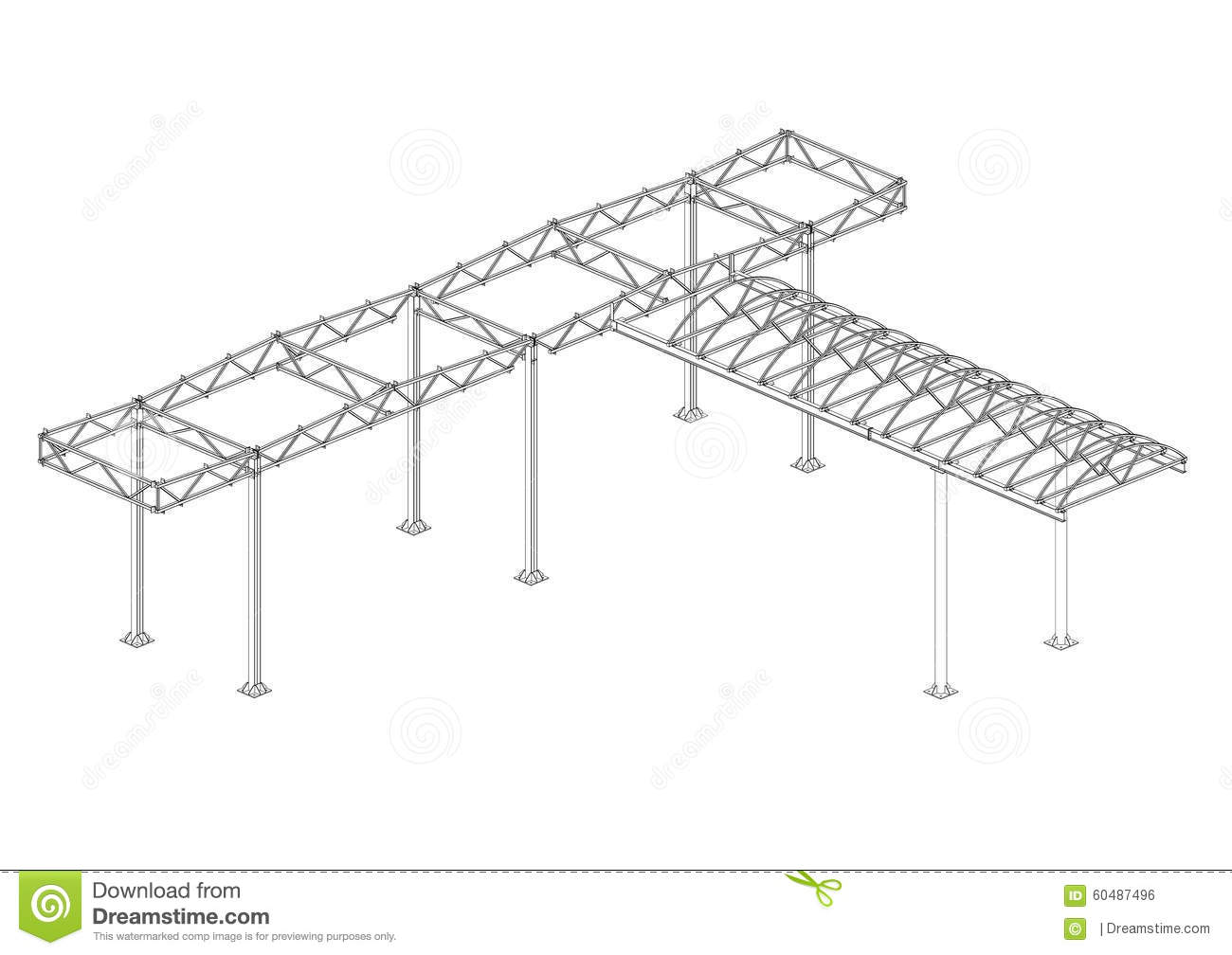 Canopy of steel structures stock illustration. Illustration of fuel ...