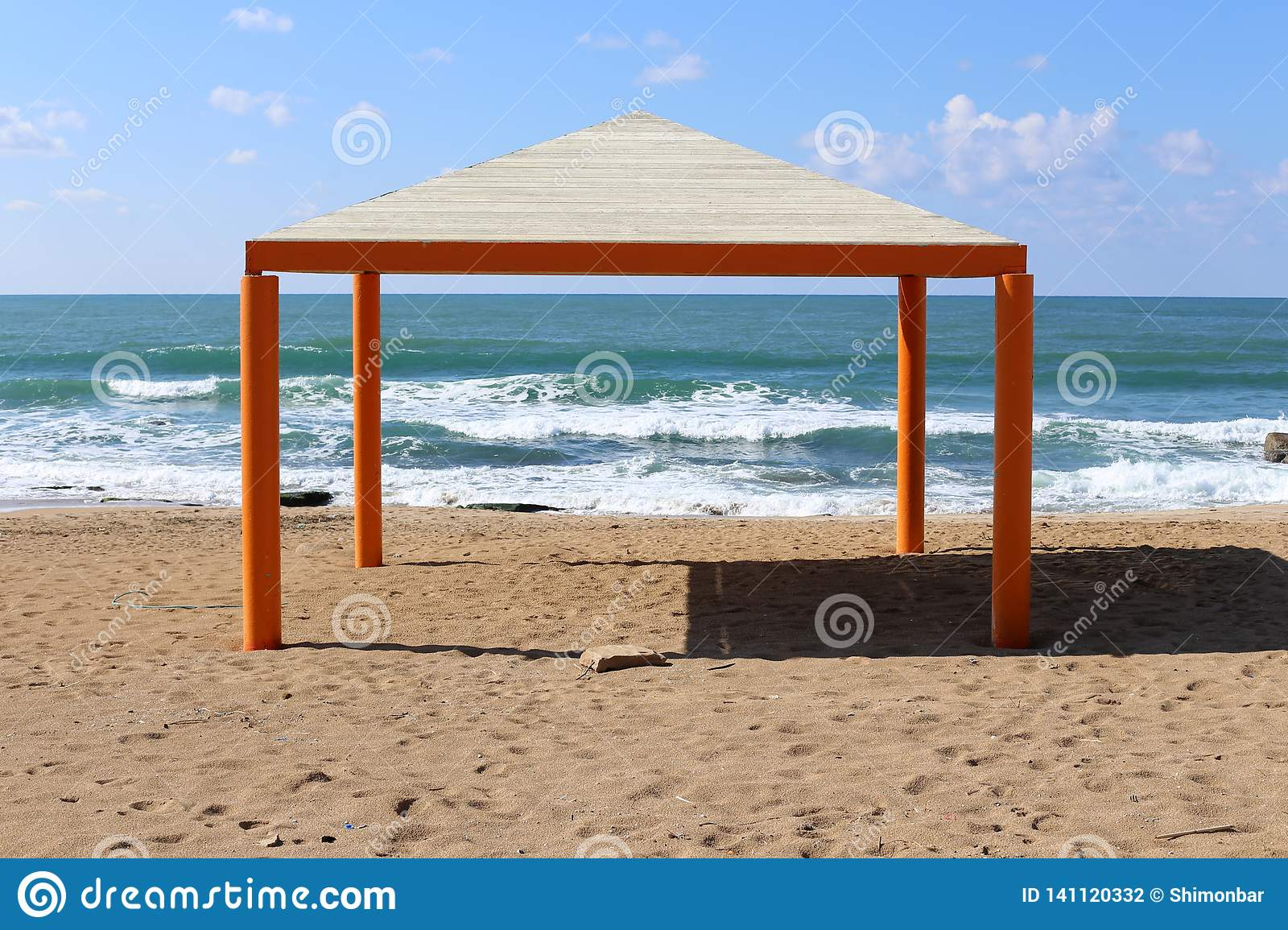 Sunshade by the sea stock photo  Image of mediterranean