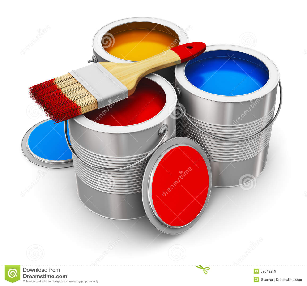 Cans With Color Paint And Paintbrush Stock Illustration