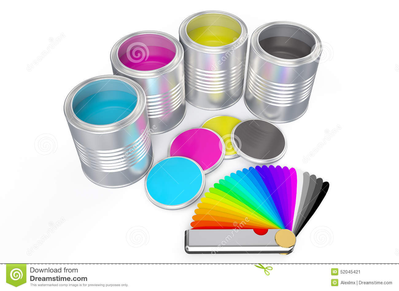 cans with color paint and pantone color palette guide stock