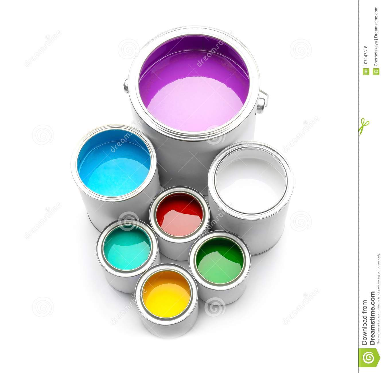 Cans with color paints