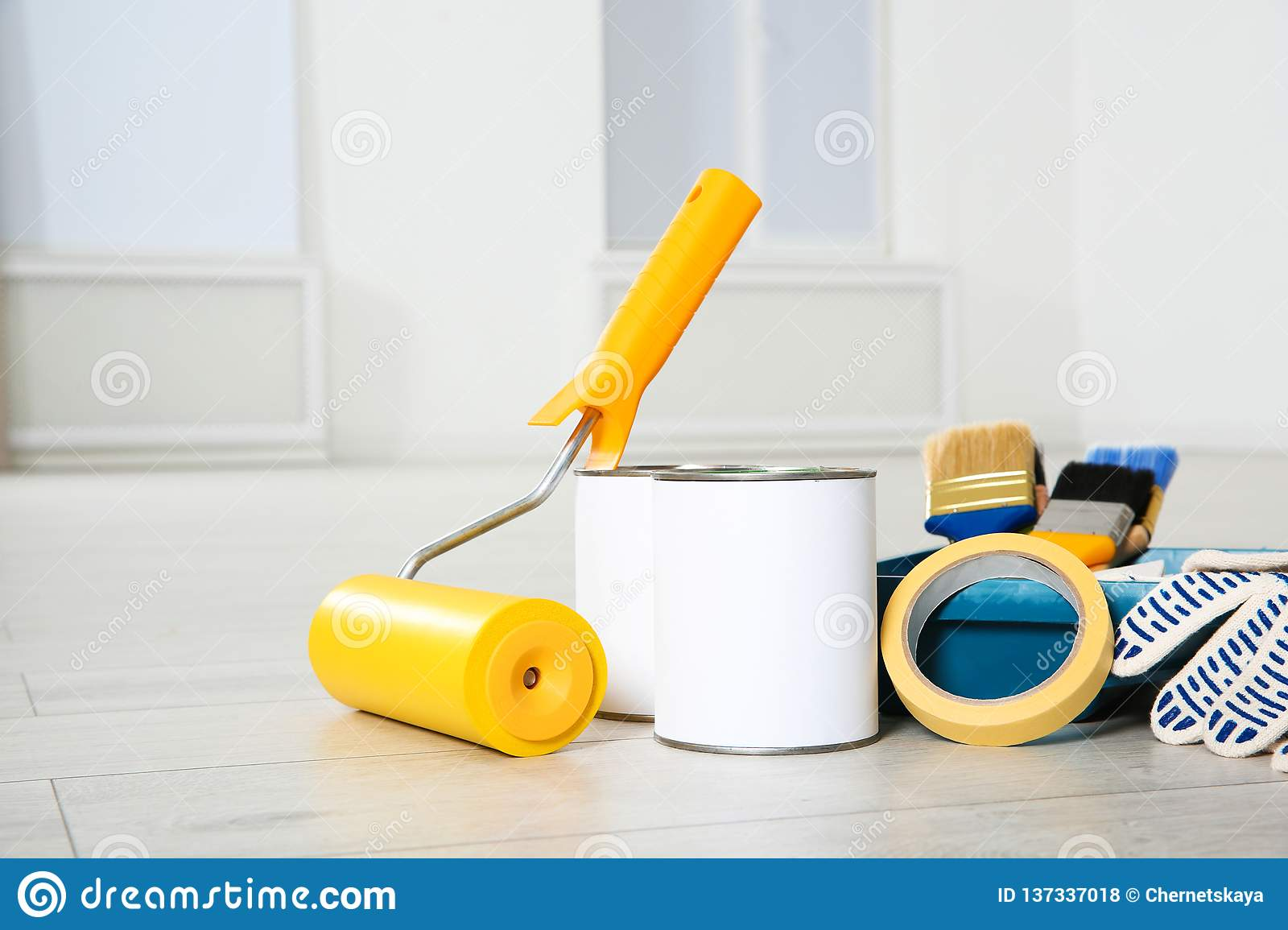 Cans Of Paint And Decorator Tools Stock Photo - Image of ...