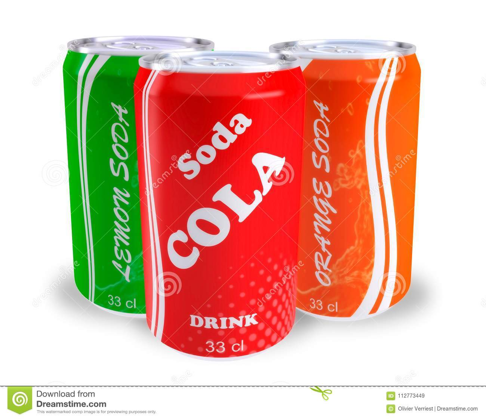 Cans soda cola orange lemon
