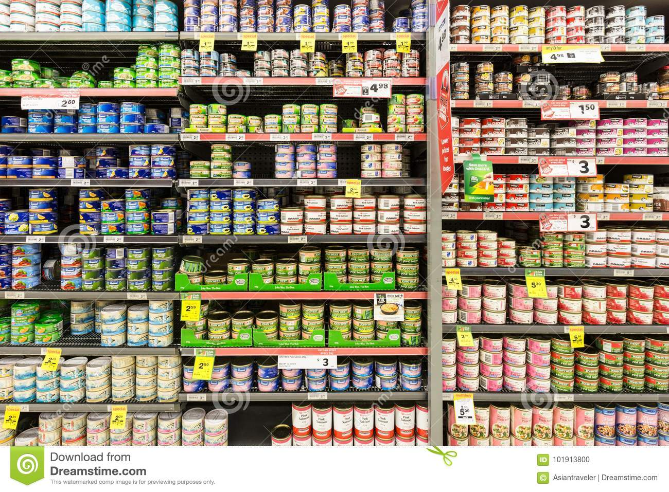 Auckland New Zealand February 22 2017 Cans Of Tuna Salmon And Other Kinds Of Fish Displayed In A Supermarket With Prices In New Zealand Dollar